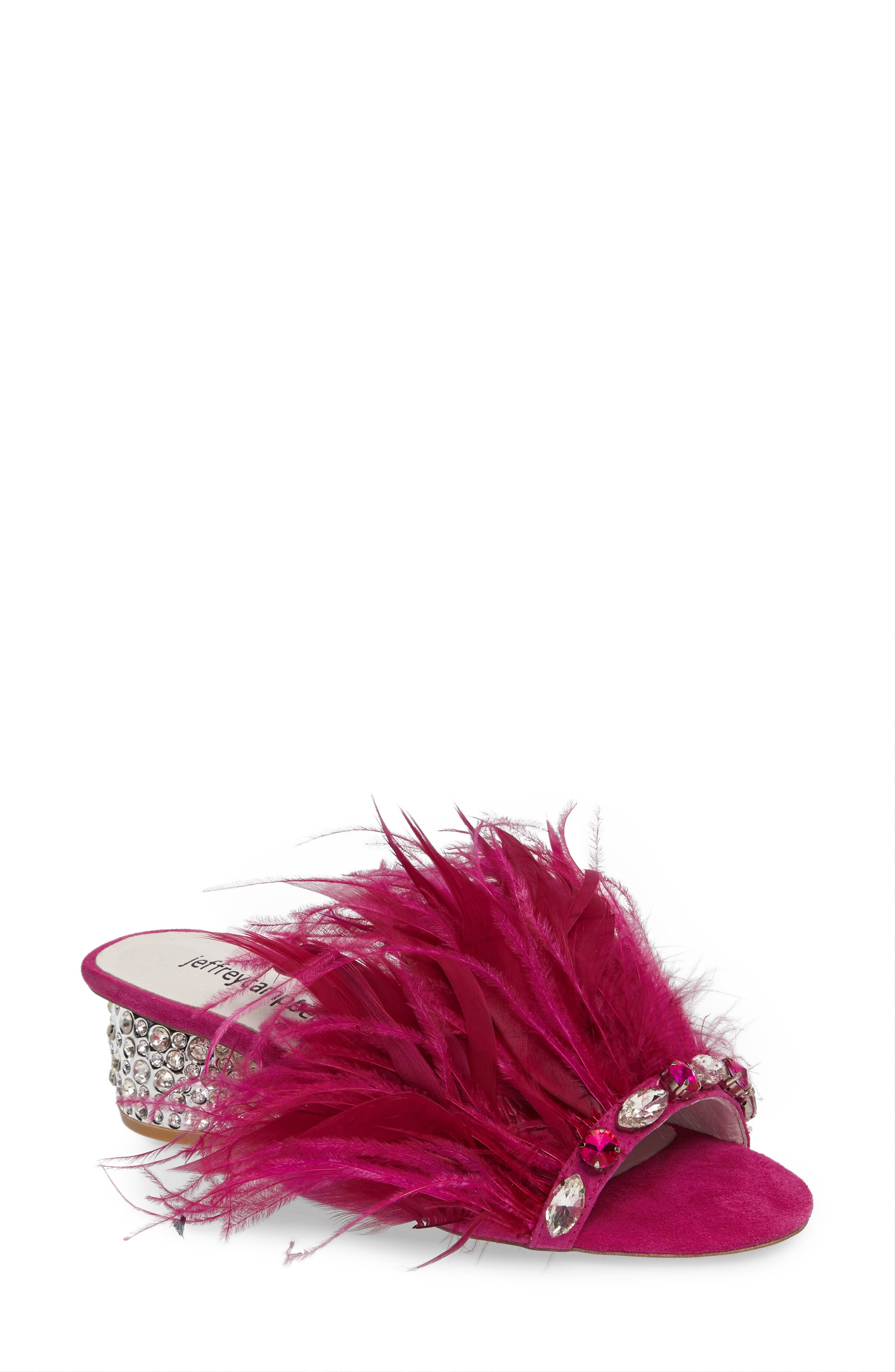 Jeffrey Campbell Zazu Feathered Slide Sandal (Women)