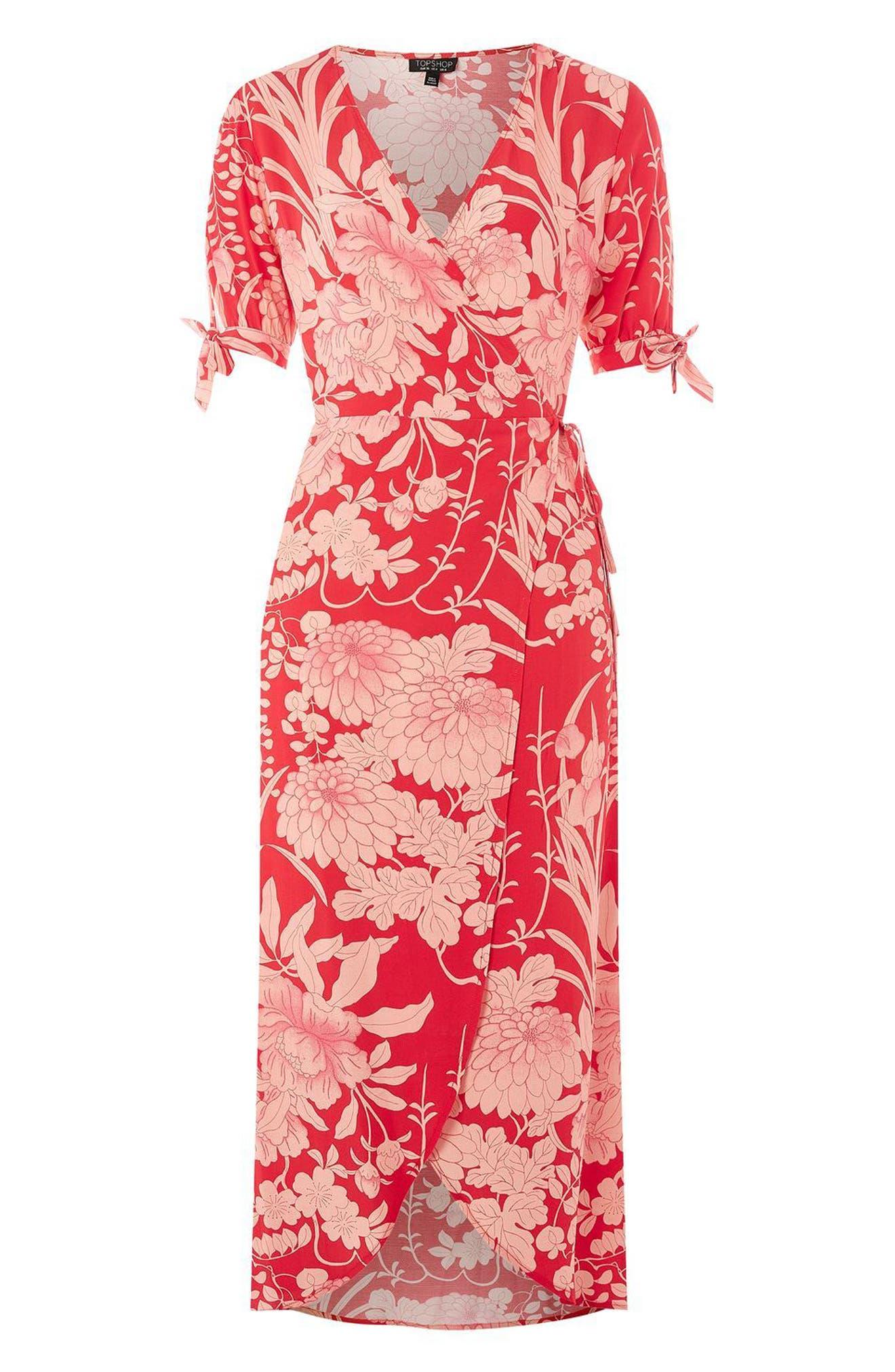 Alternate Image 5  - Topshop Floral Tie Sleeve Wrap Midi Dress
