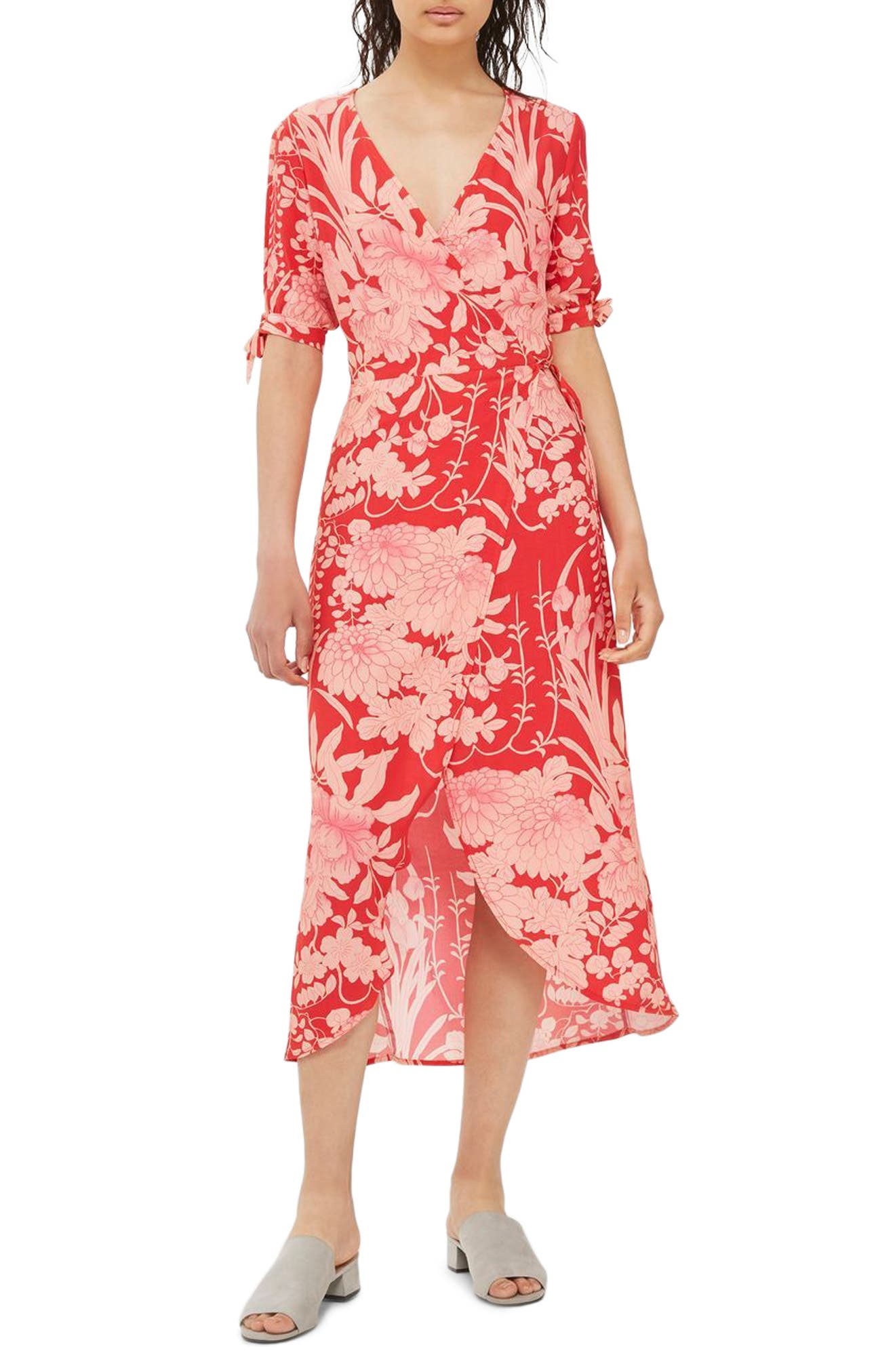 Topshop Floral Tie Sleeve Wrap Midi Dress