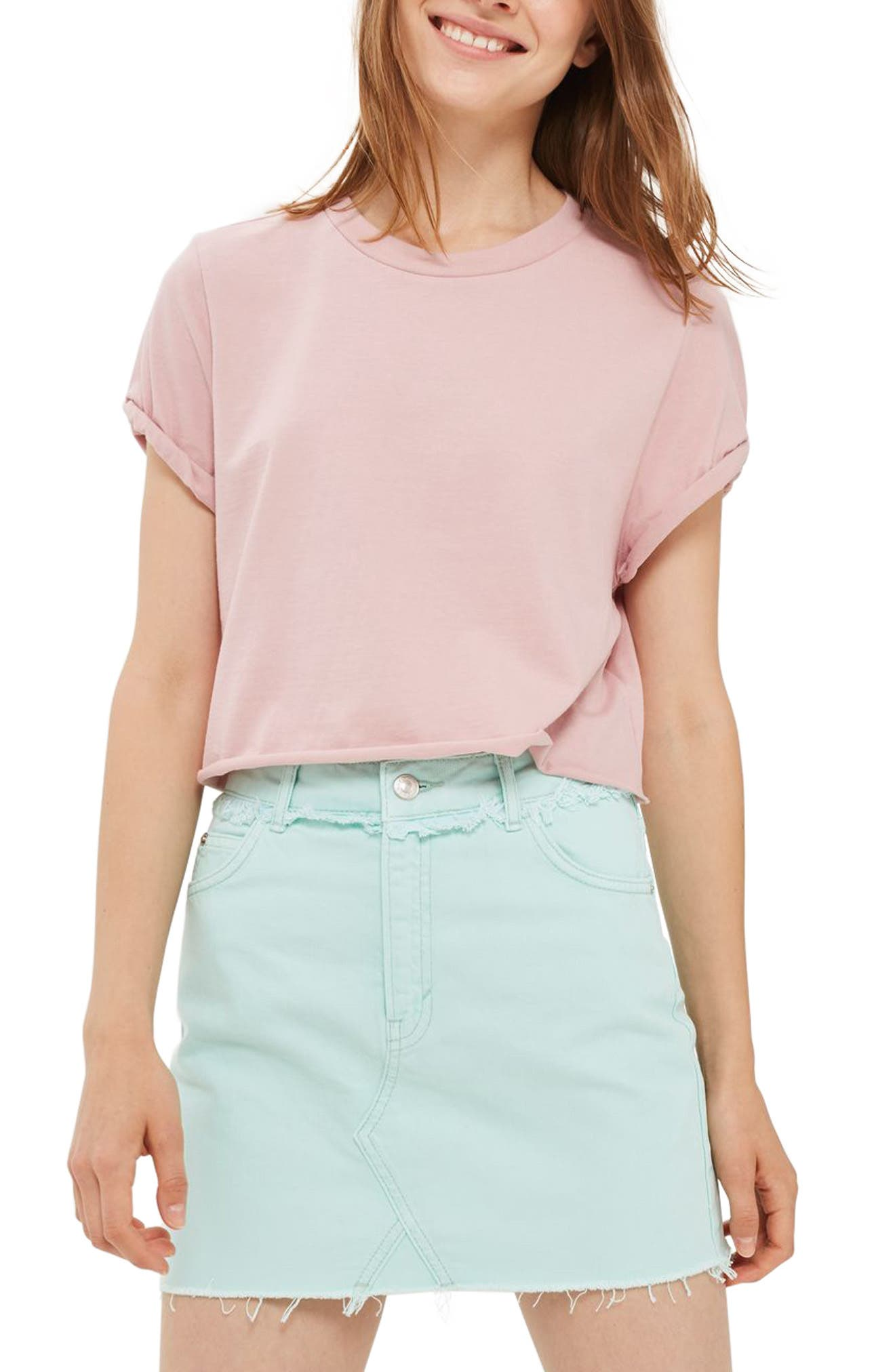 Topshop Roll Crop Tee
