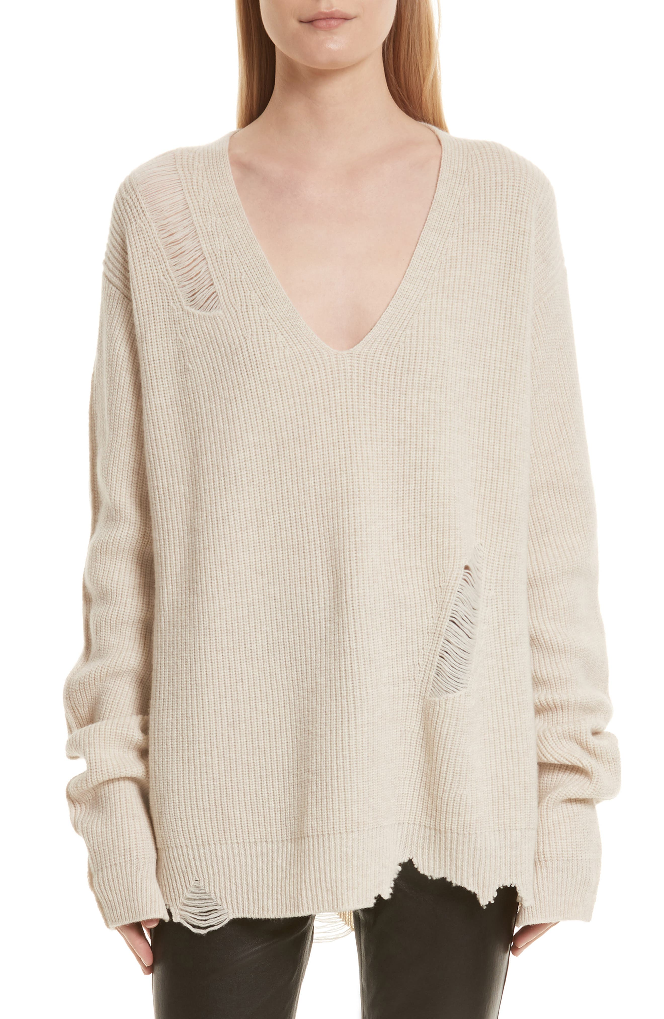 Helmut Lang Distressed Wool & Cashmere Sweater