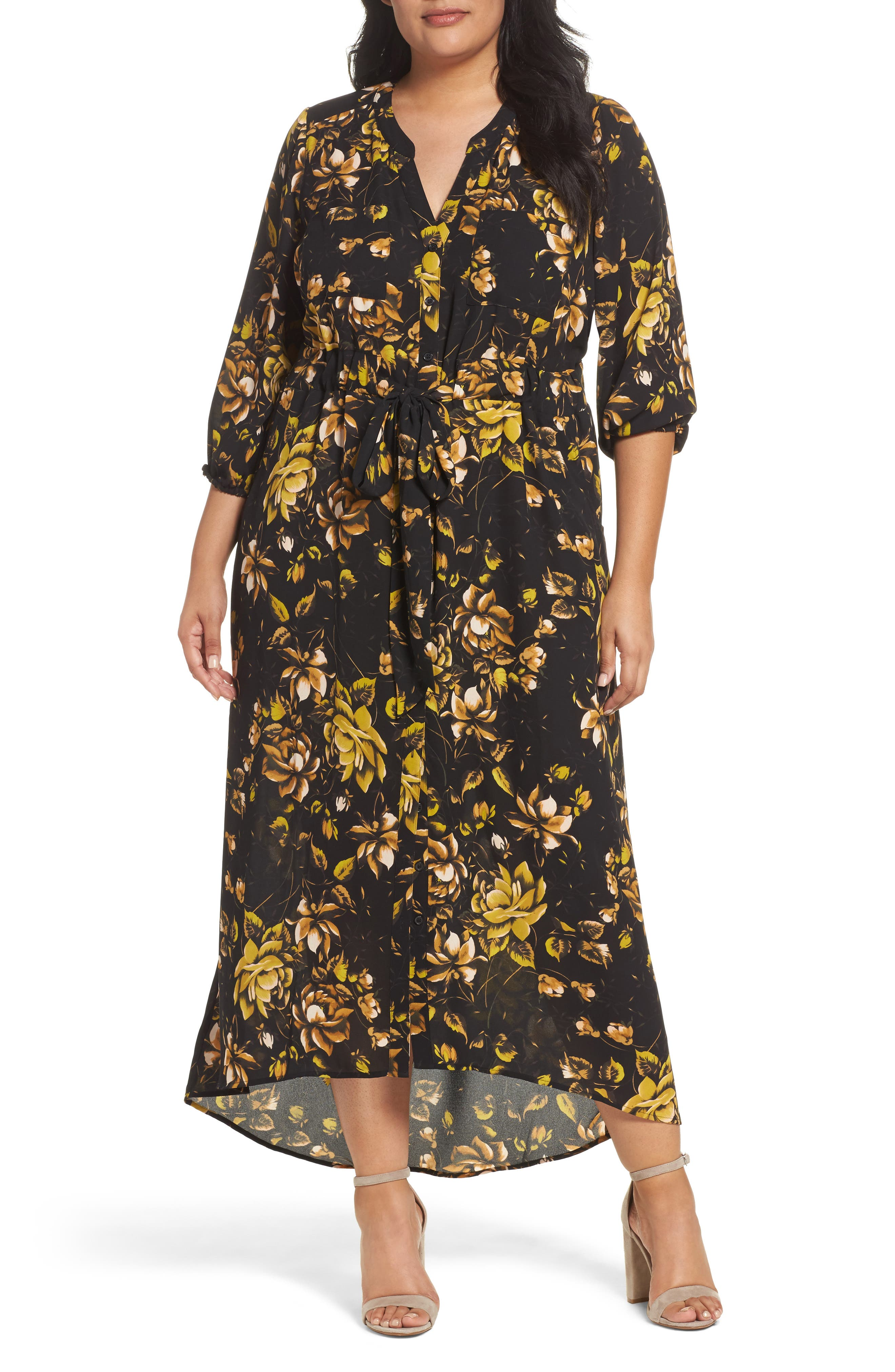 Melissa McCarthy Seven7 Print Maxi Shirtdress (Plus Size)