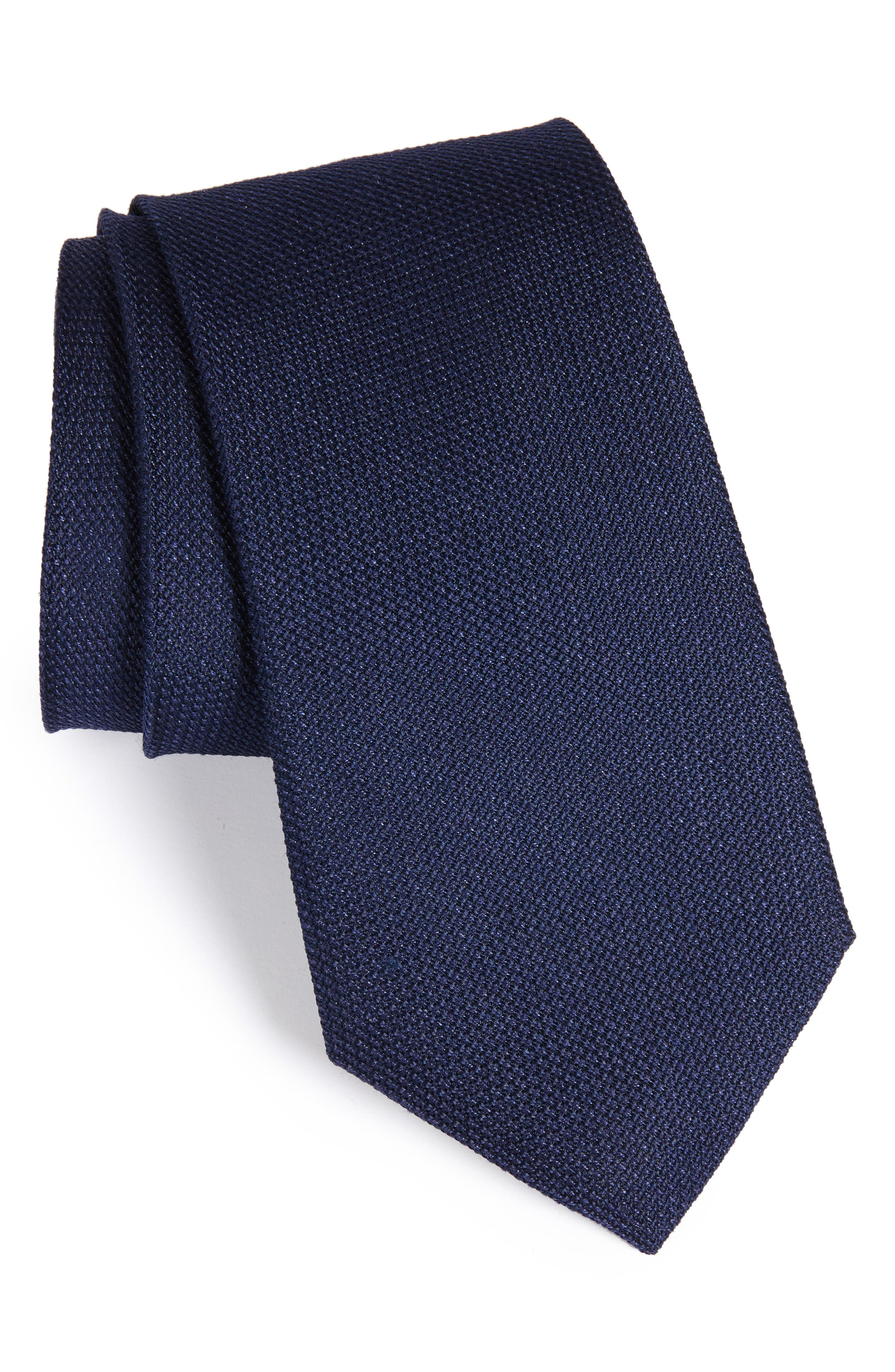 Nordstrom Men's Shop Grenadine Textured Silk Tie (X-Long)