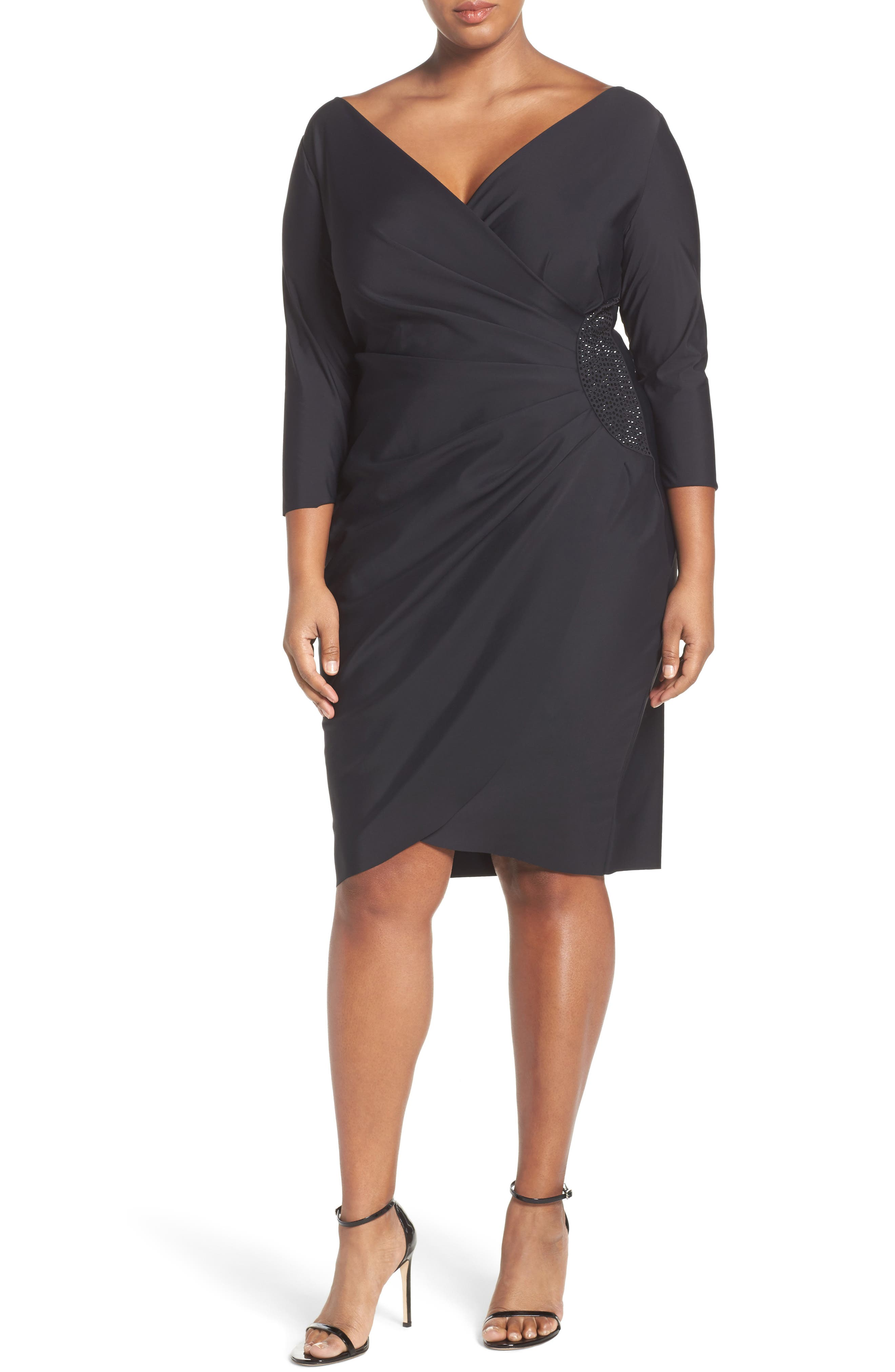 Alex Evenings Embellished Faux Wrap Dress (Plus Size)