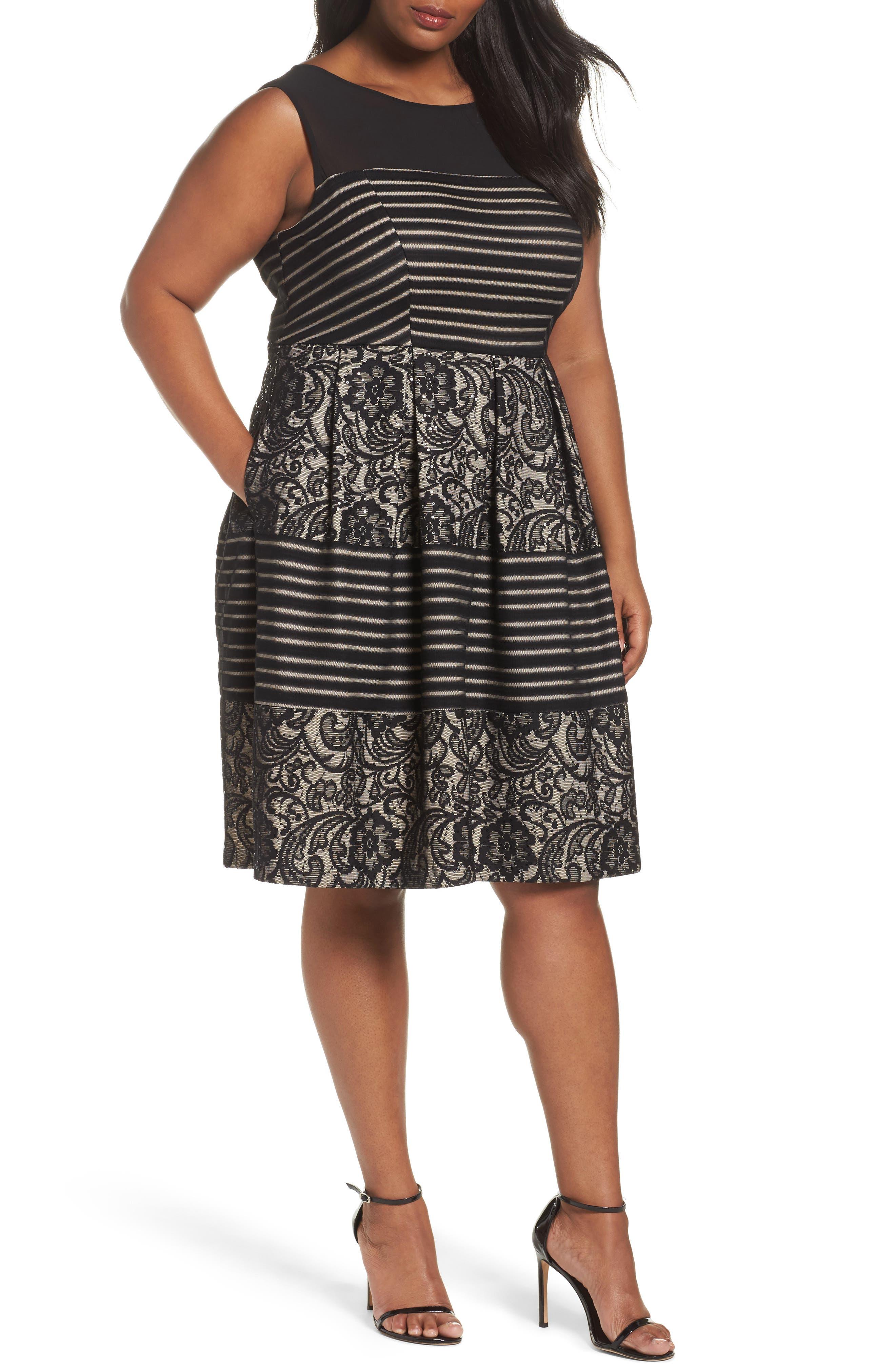Sangria Sequin Lace Fit & Flare Dress (Plus Size)