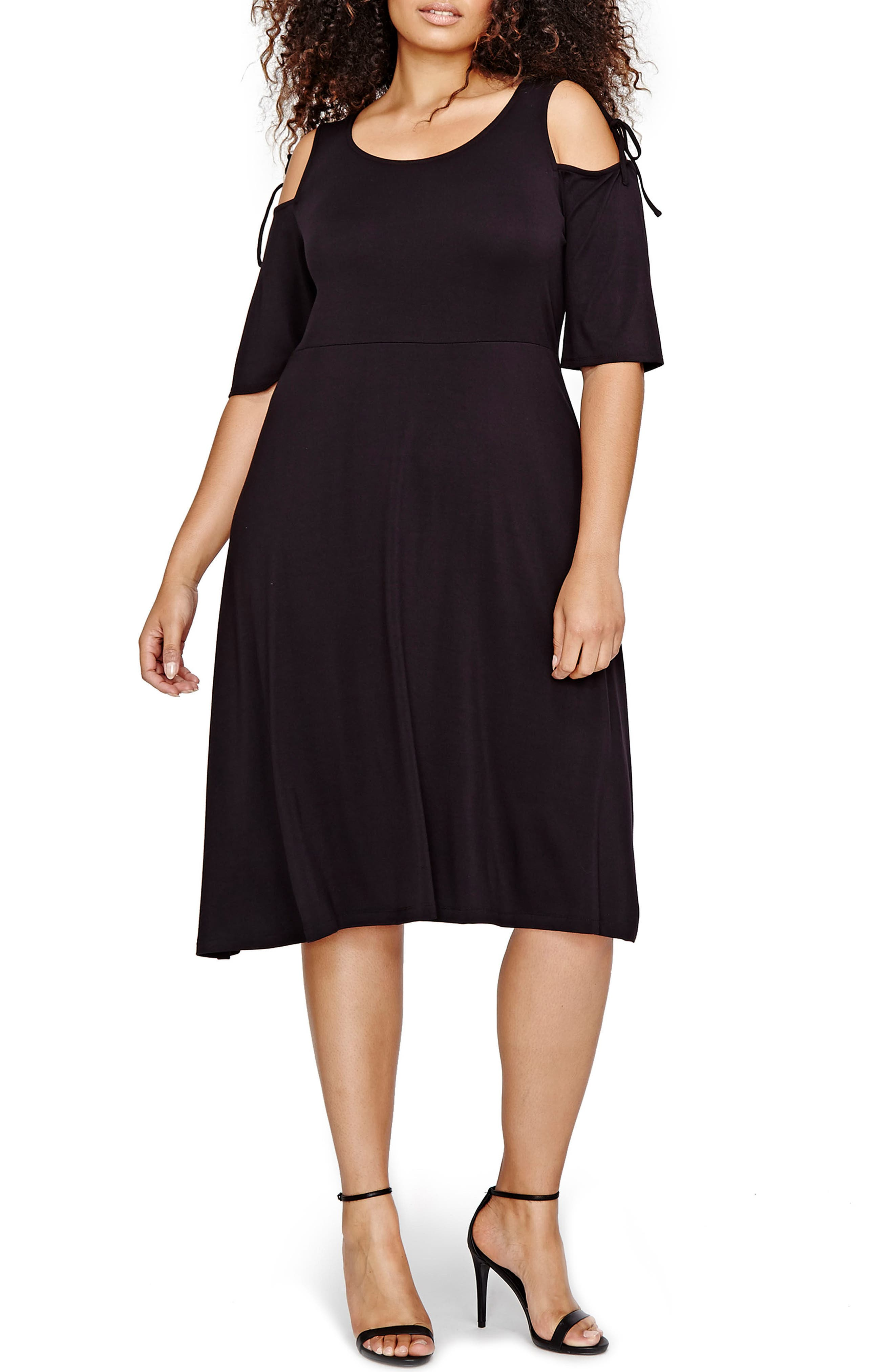 MICHEL STUDIO Shoulder Tie Fit & Flare Dress (Plus Size)
