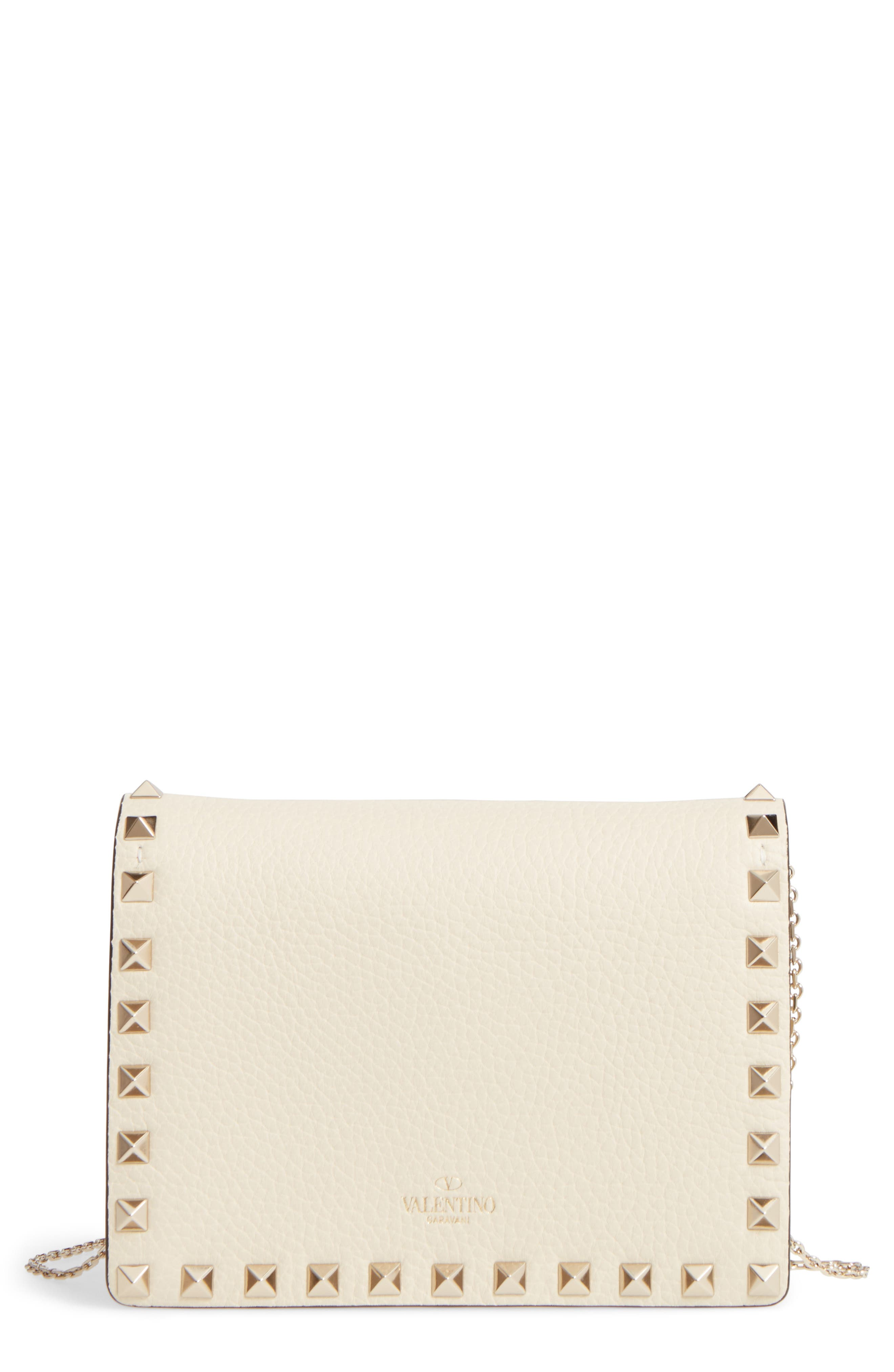 Valentino Mini Rockstud Triple Compartment Leather Clutch