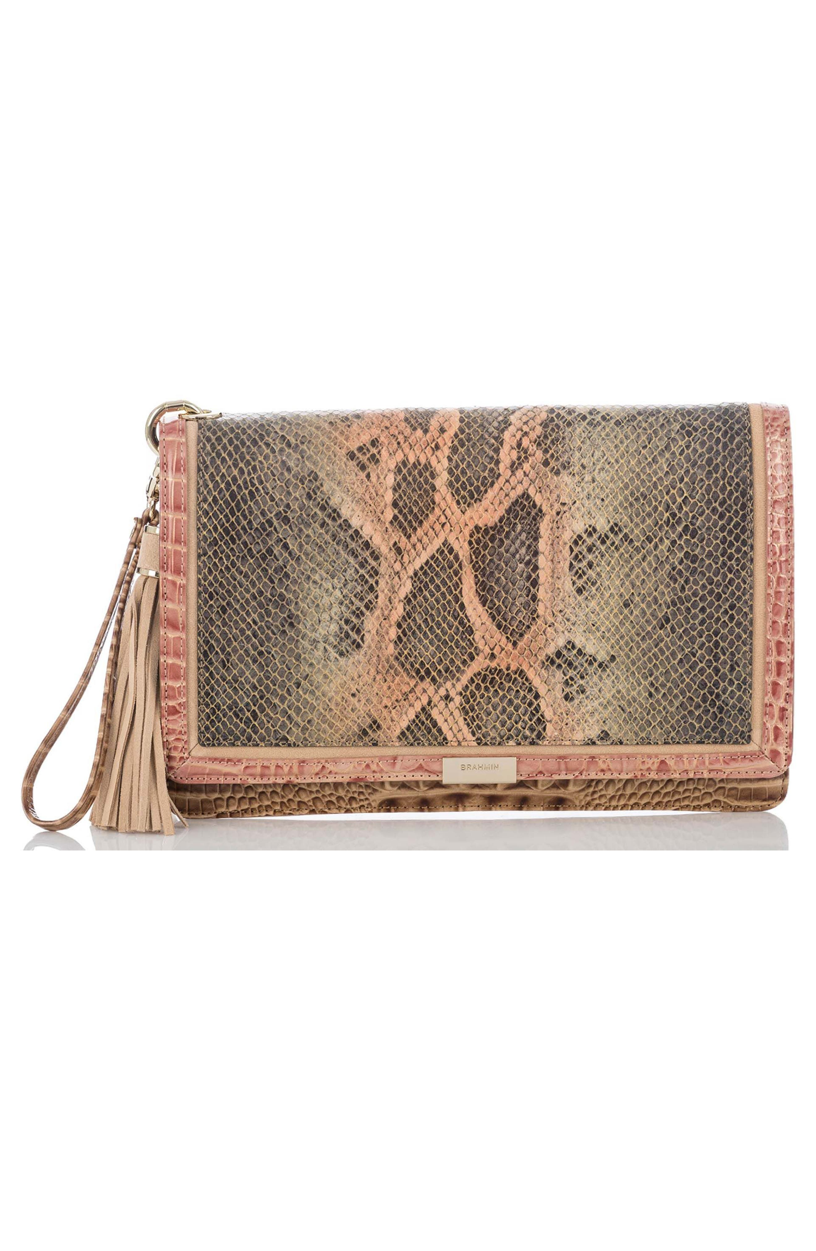 Brahmin Embossed Leather Clutch