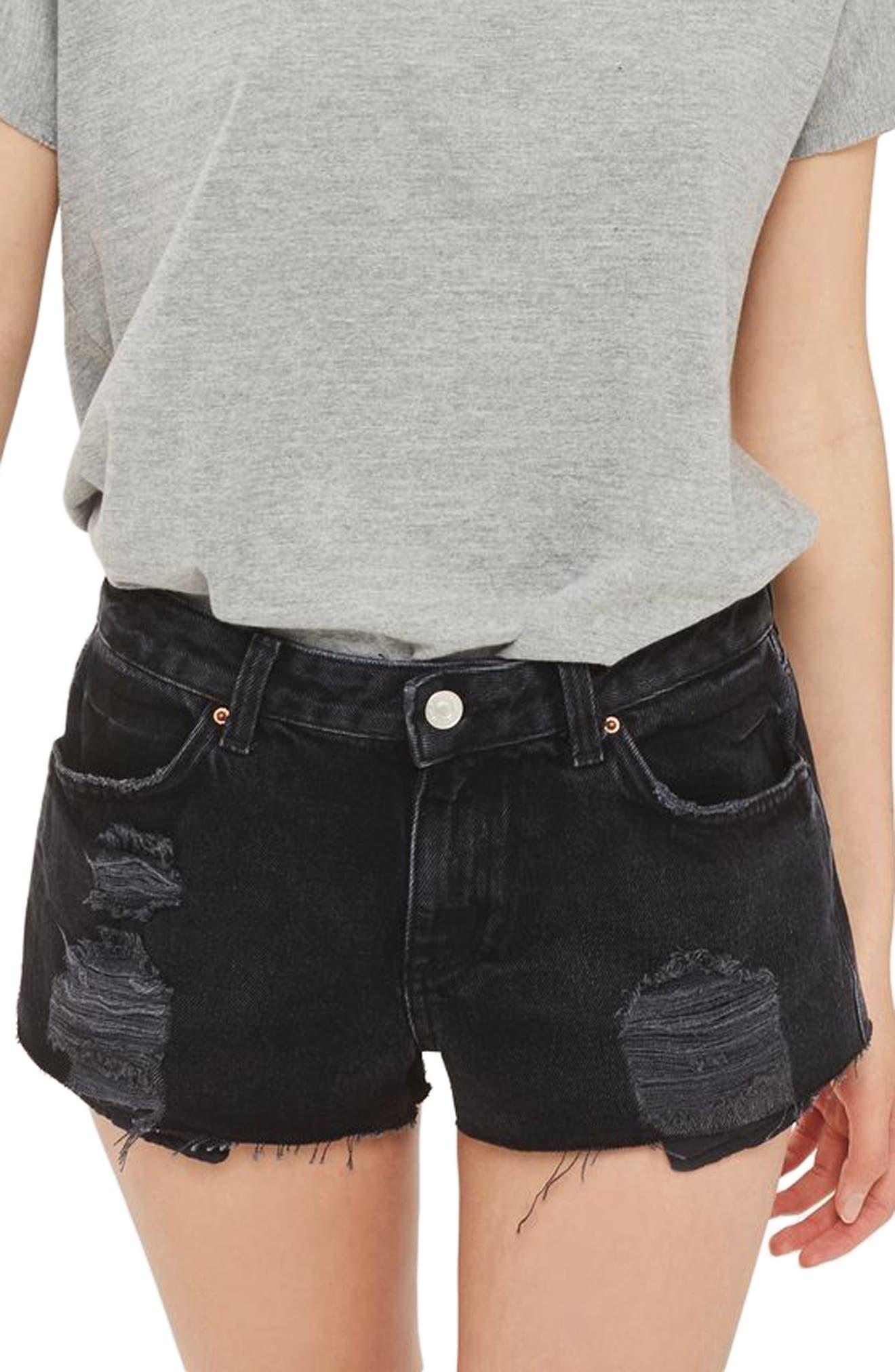 Topshop Cory Ripped Black Denim Shorts