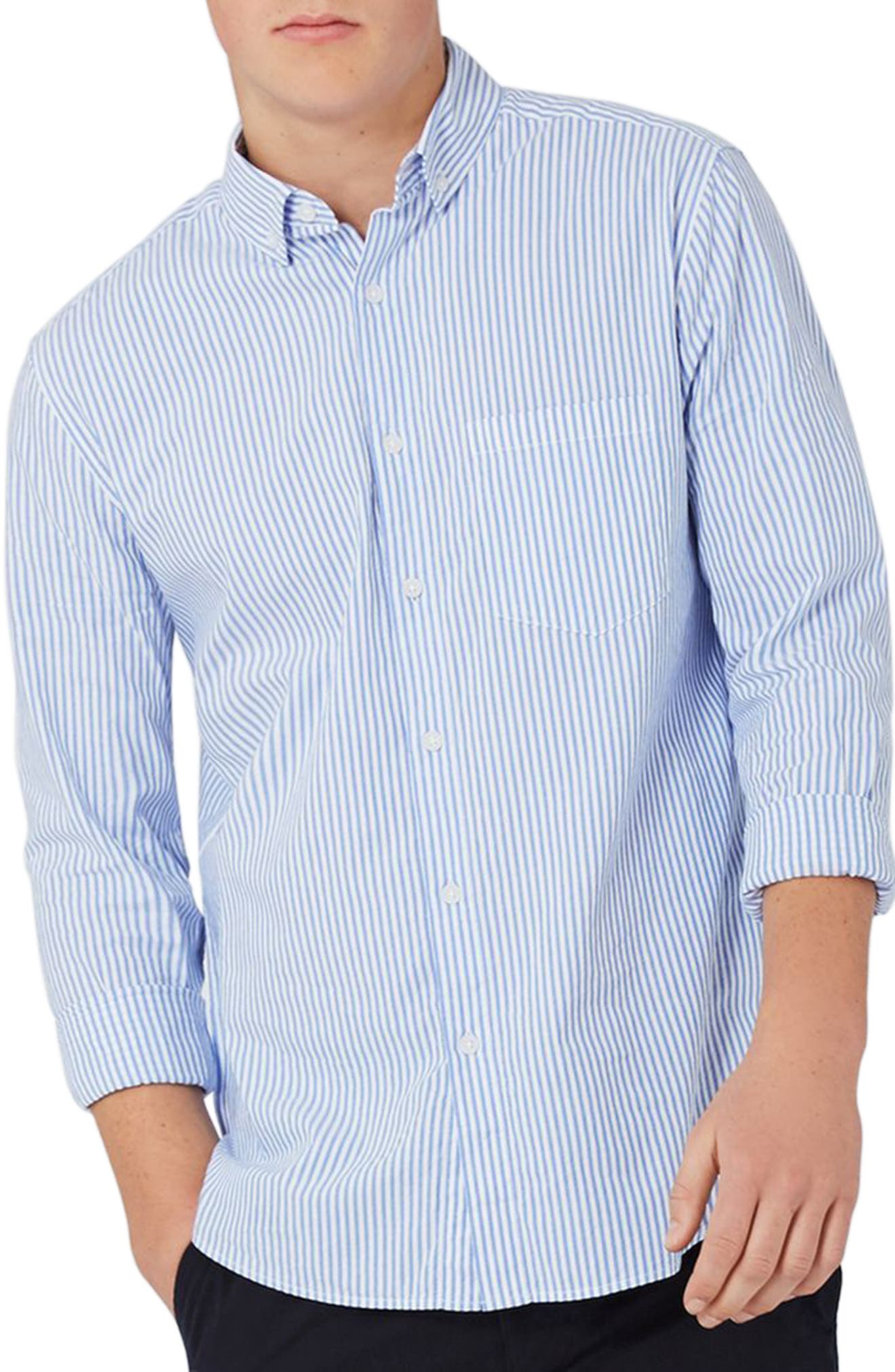 Topman Classic Fit Stripe Oxford Shirt