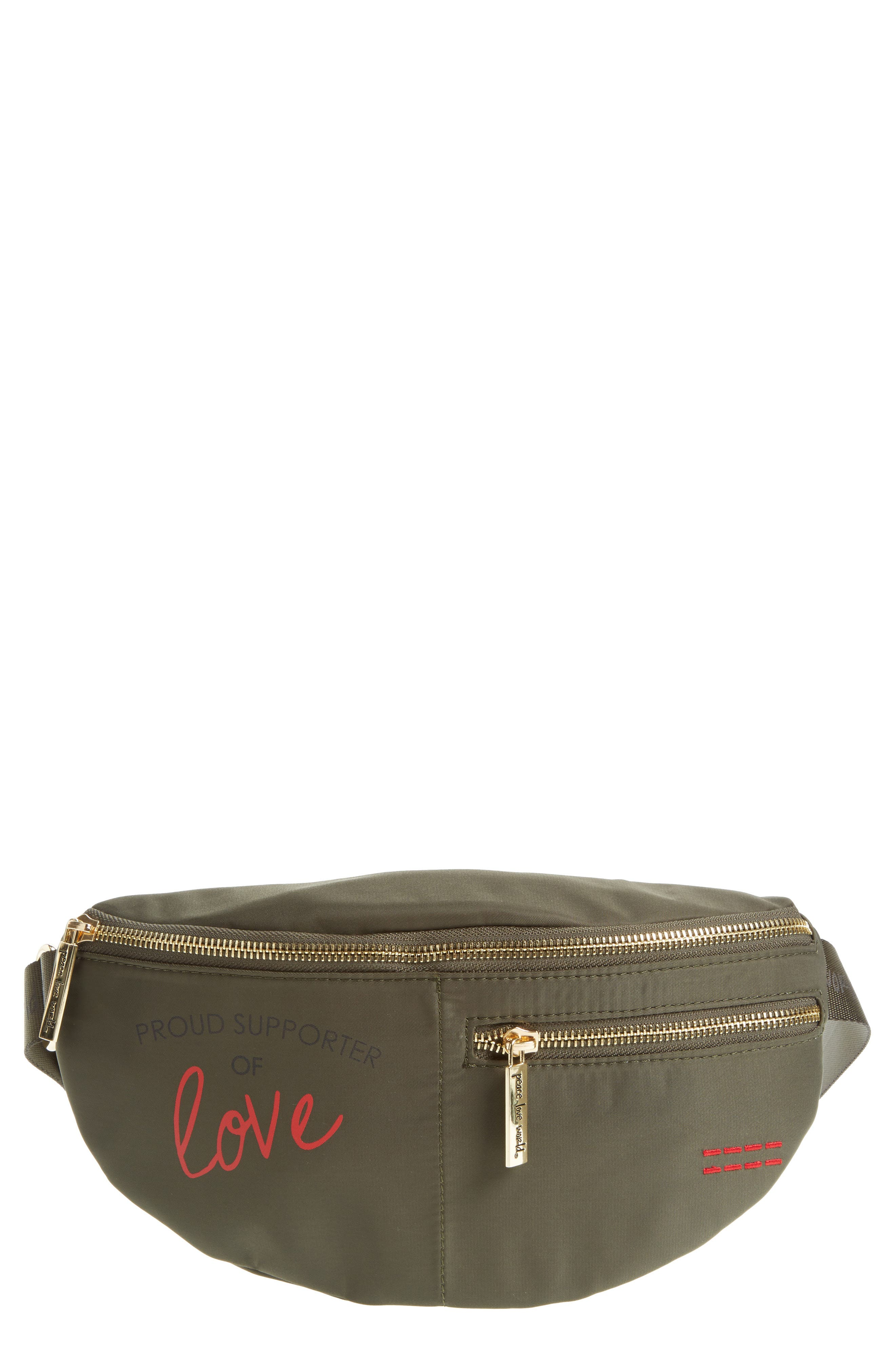 Peace Love World Nylon Belt Bag