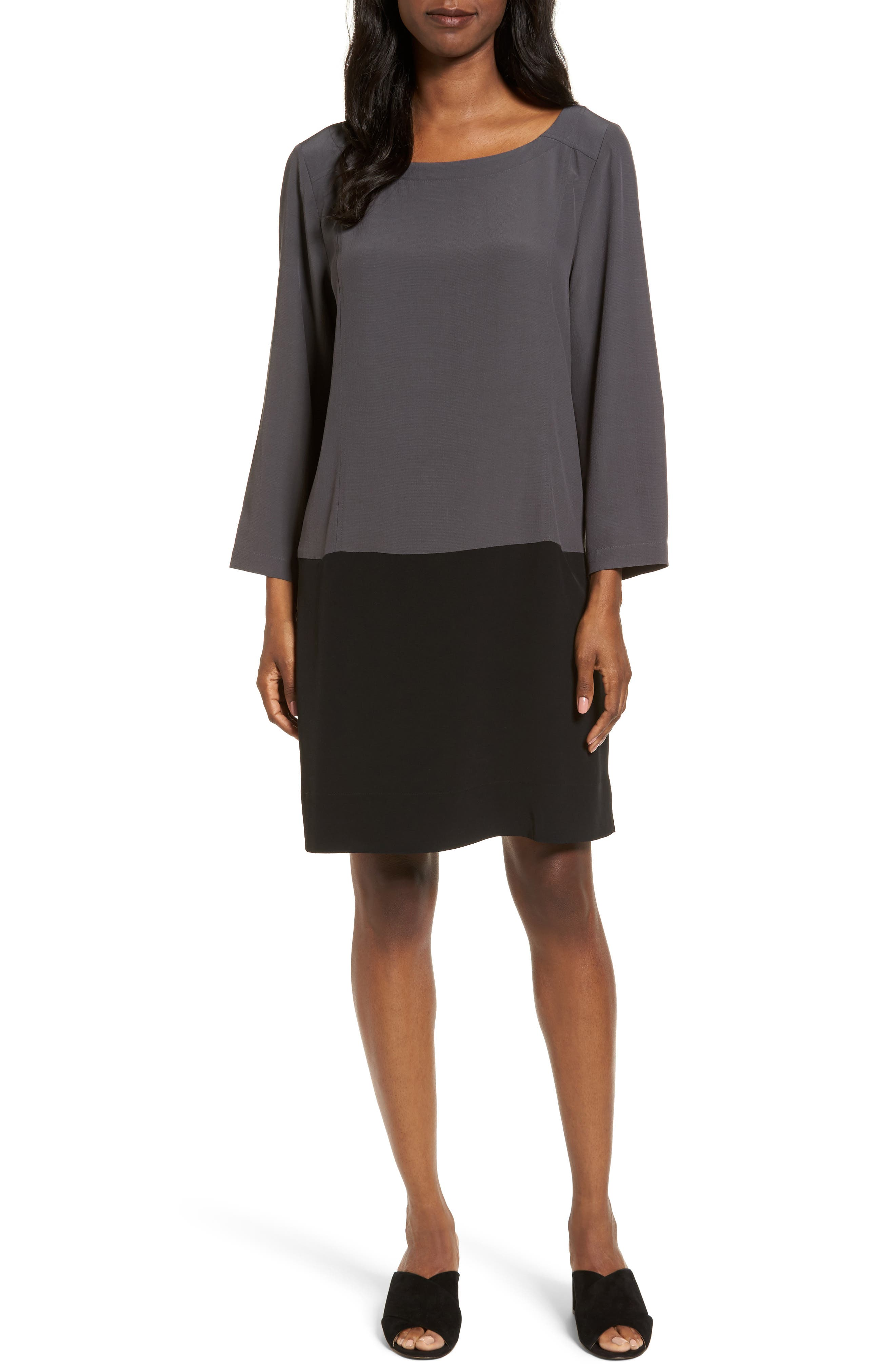Eileen Fisher Colorblock Tencel® Blend Shift Dress