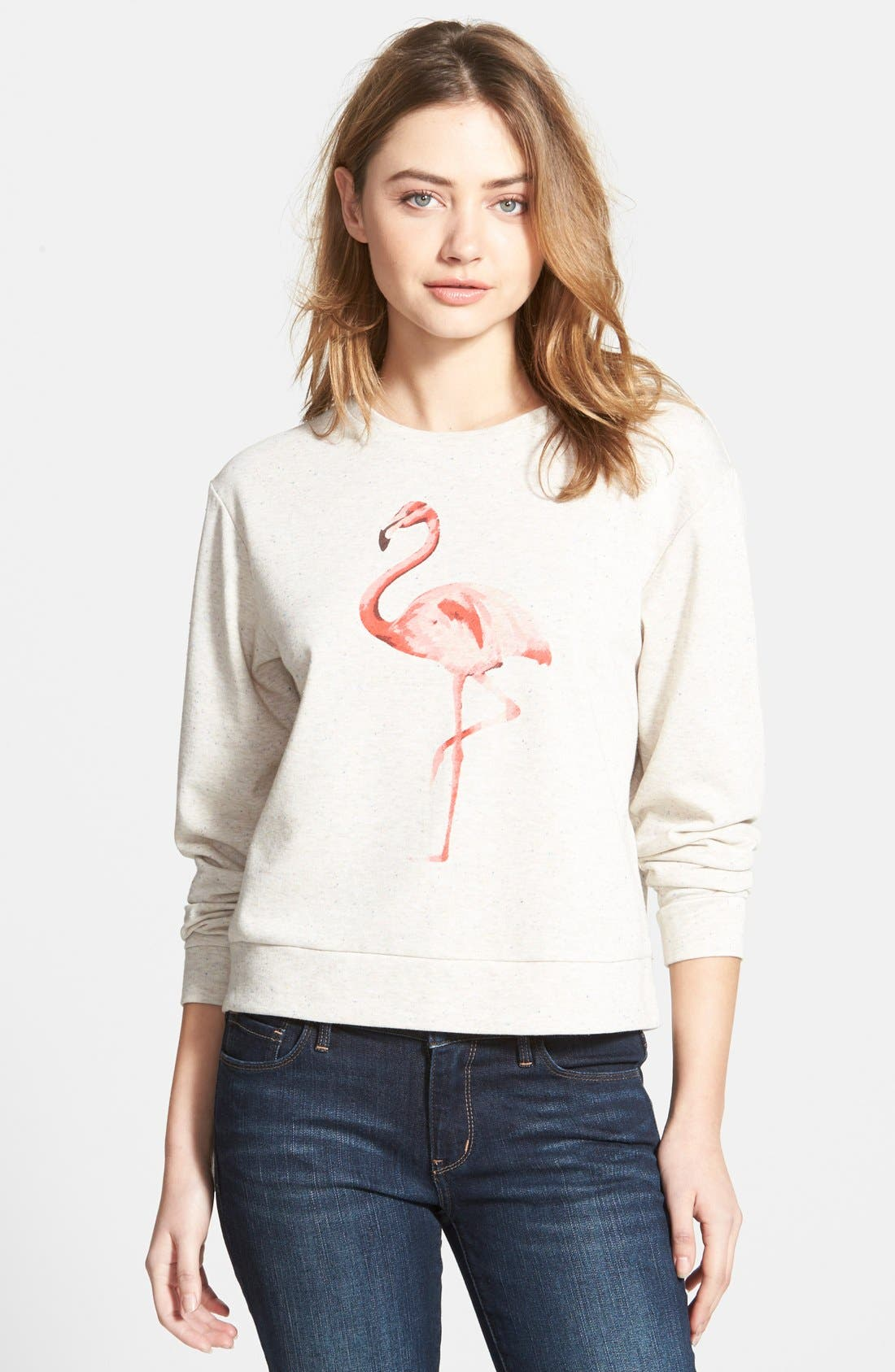 Alternate Image 1 Selected - Ace Delivery Flamingo French Terry Sweatshirt