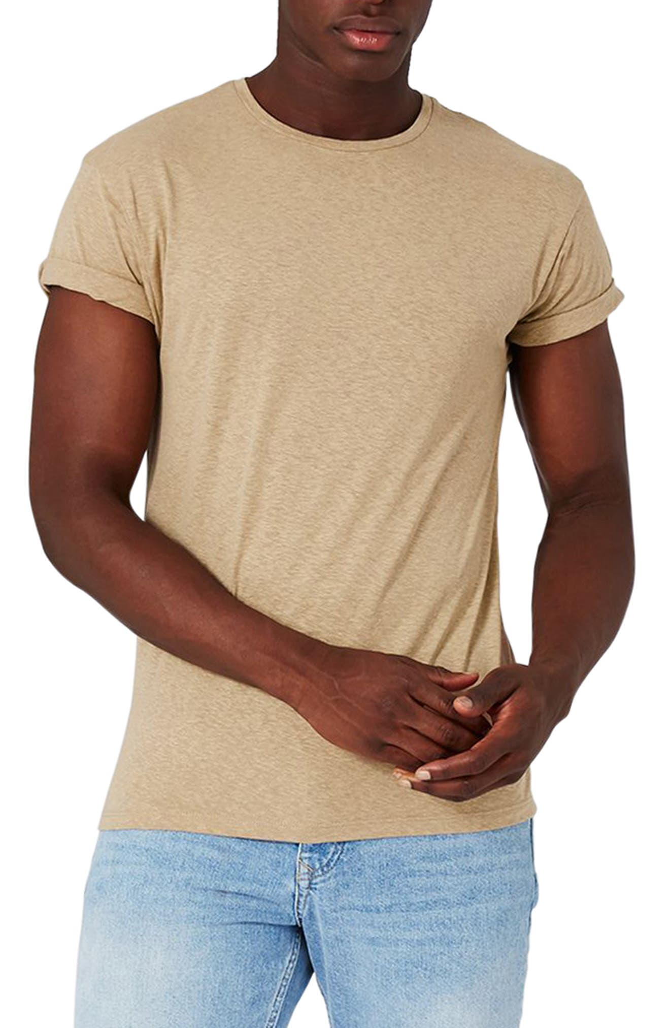 Topman Mr. Muscle Fit Roll Sleeve Linen T-Shirt
