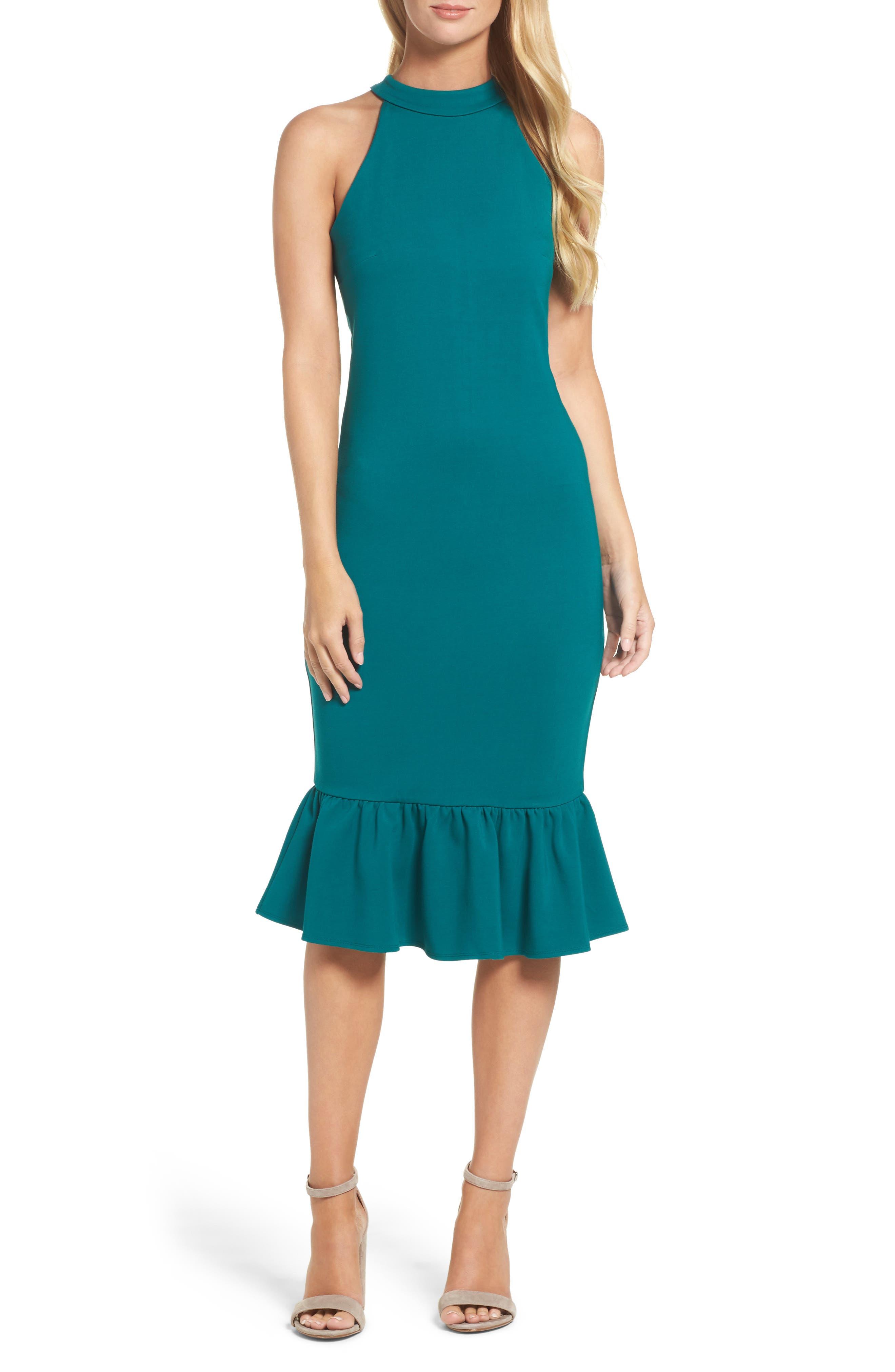 Felicity & Coco Ruffle Hem Midi Dress (Regular & Petite) (Nordstrom Exclusive)