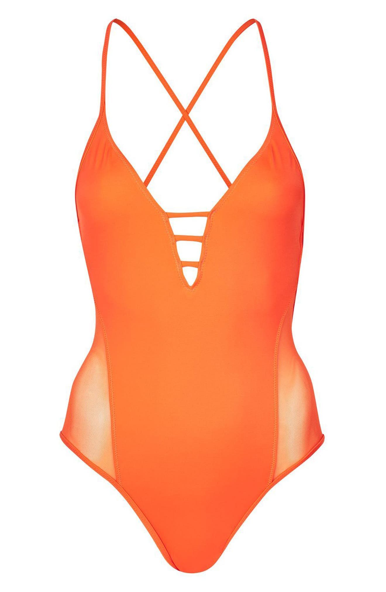 Topshop Strap Mesh One-Piece Swimsuit