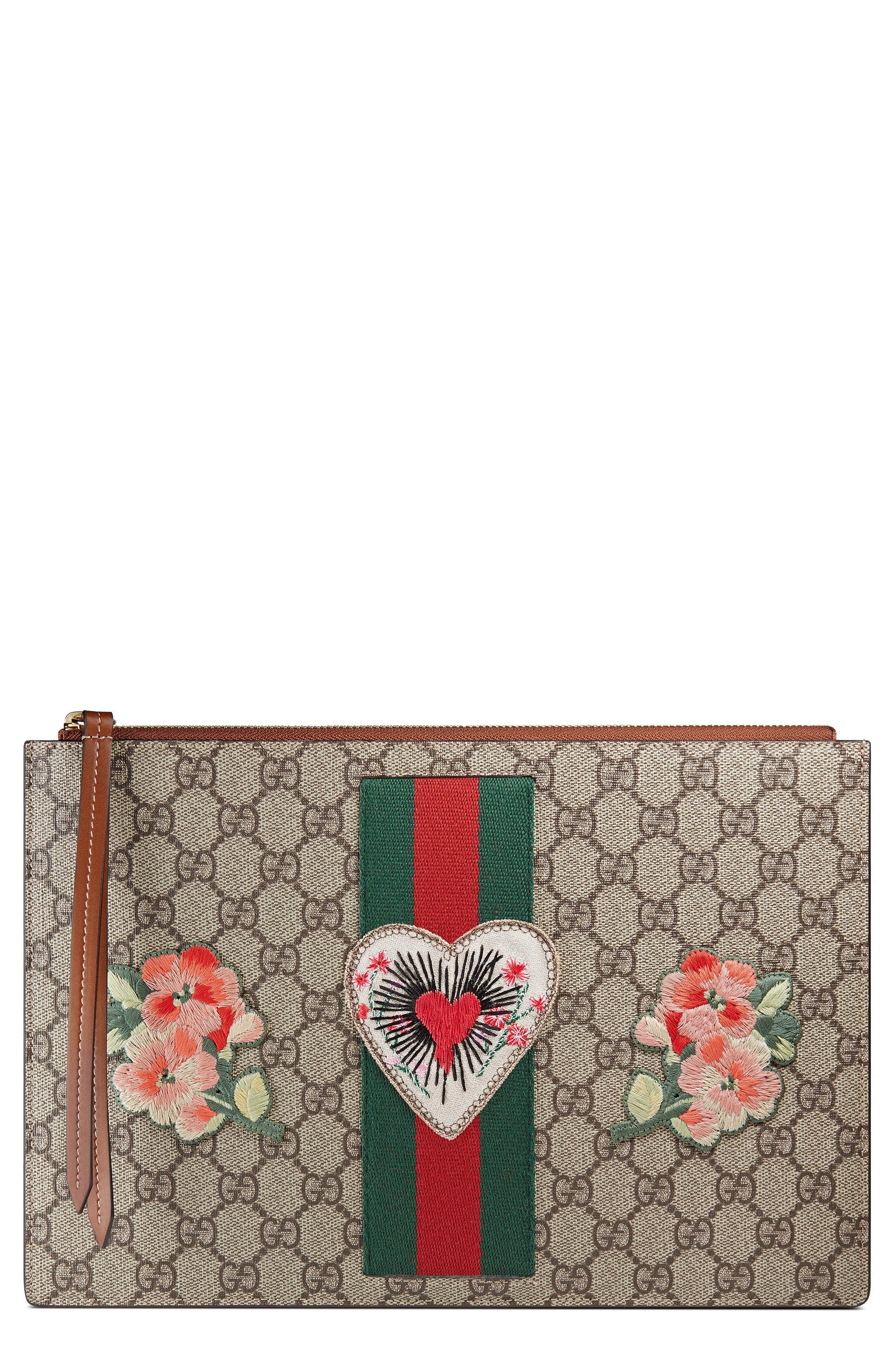 Gucci Merveilles Appliqué GG Supreme Canvas Zip Pouch