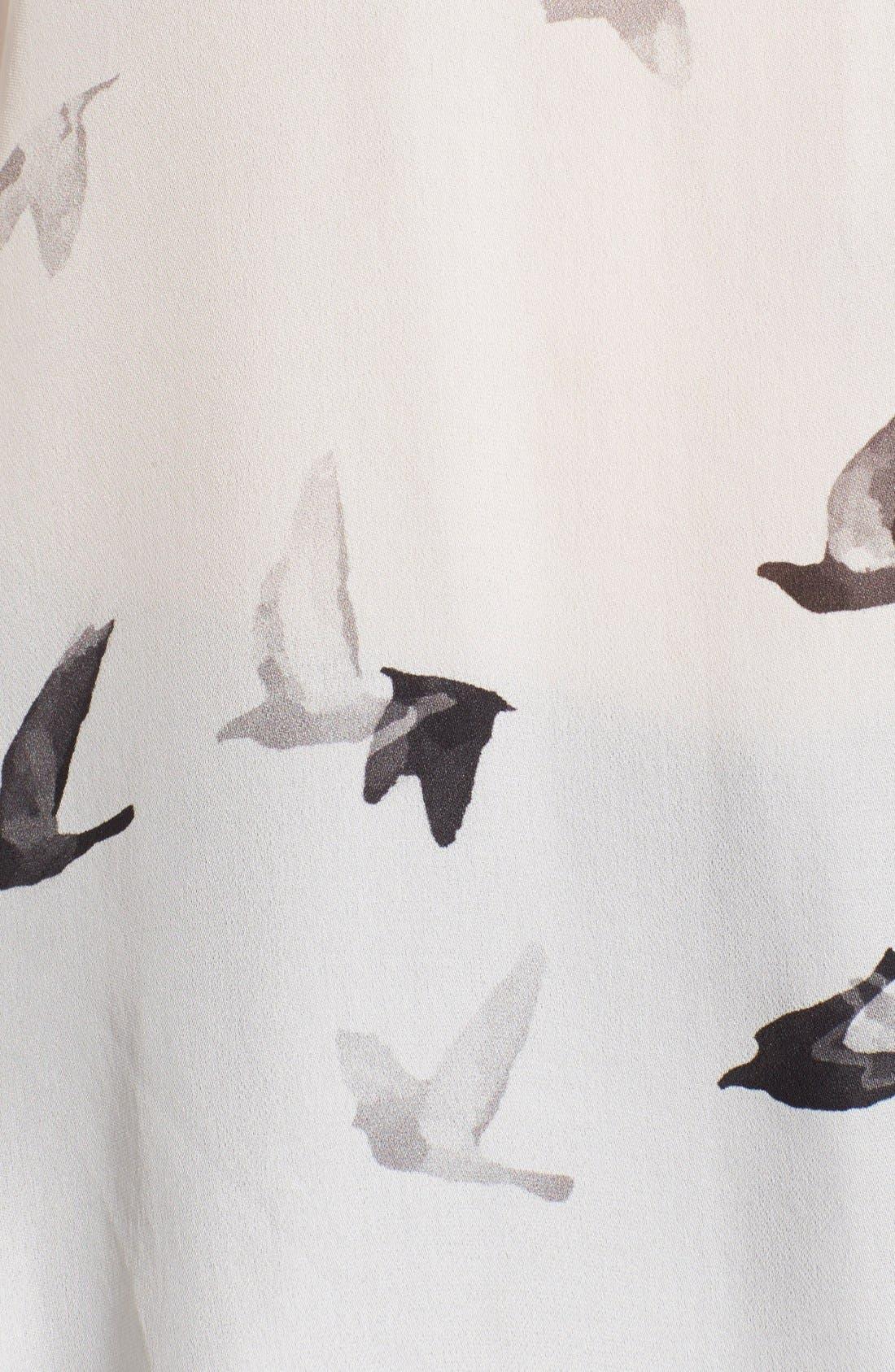 Alternate Image 3  - Haute Hippie Bird Print High/Low Silk Blouse