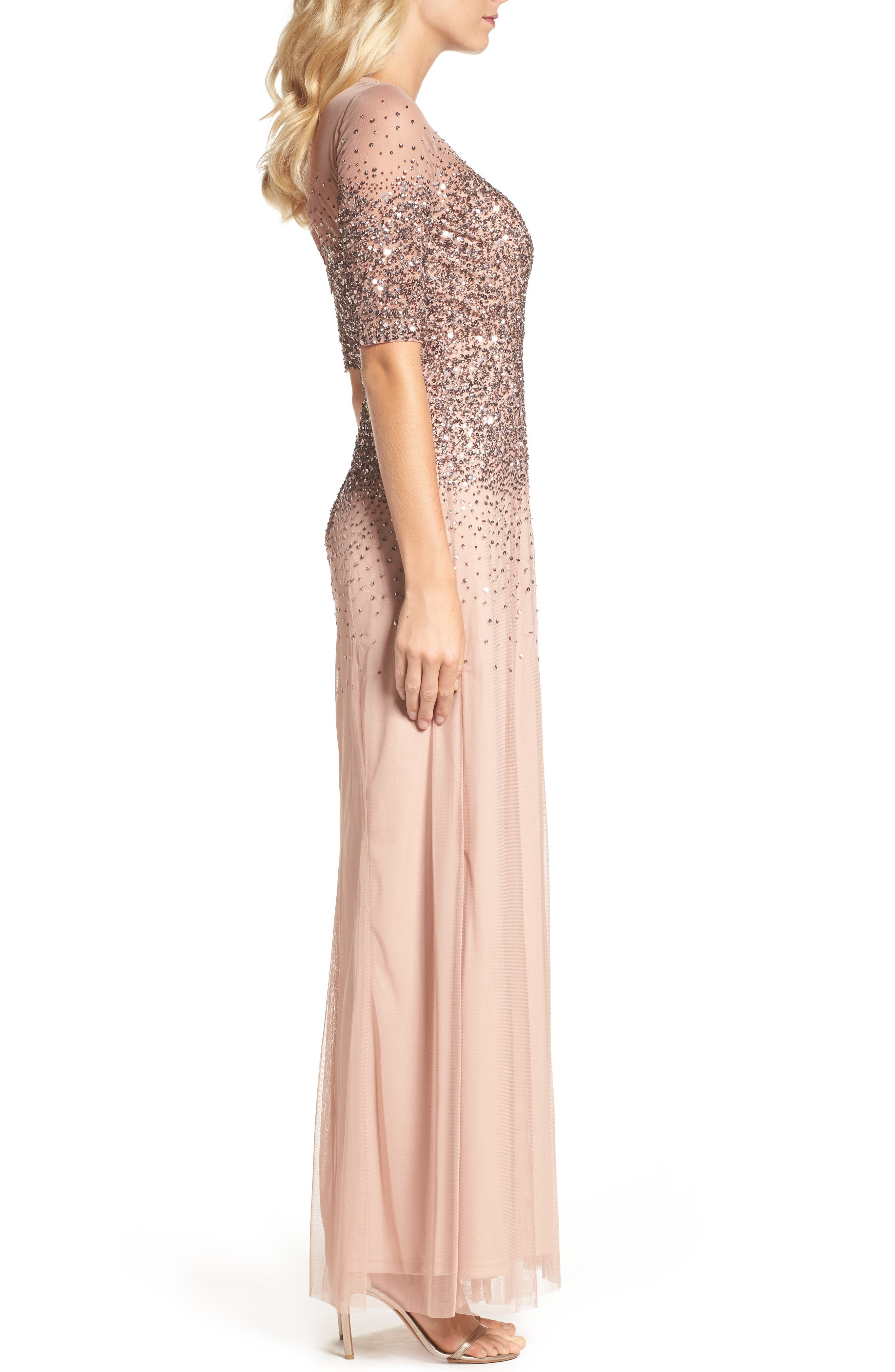 Alternate Image 3  - Adrianna Papell Beaded Illusion Bodice Mesh Gown