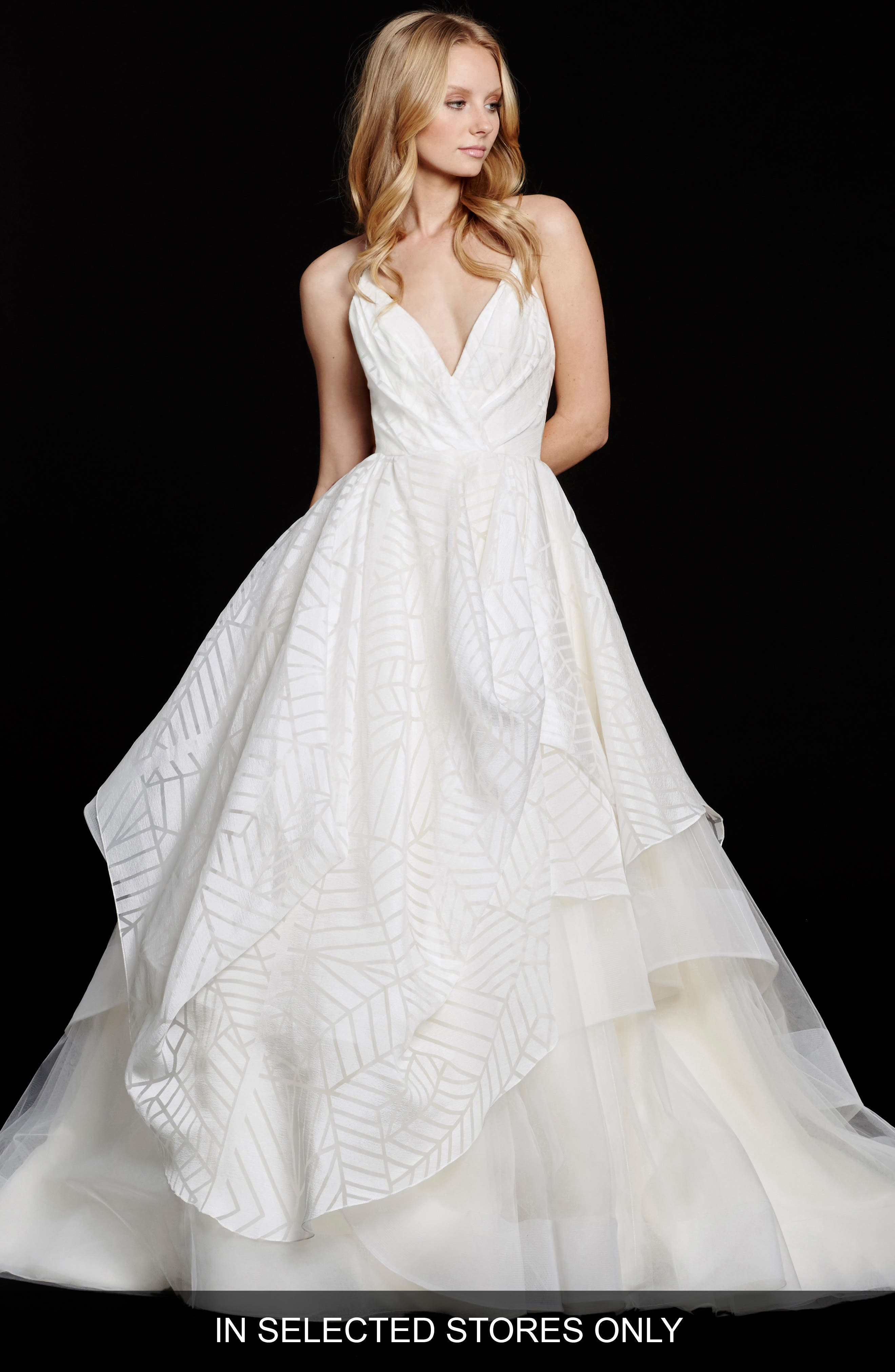 Hayley Paige 'Bahati' Beaded Bodice Draped Organza & Tulle Ballgown (In Stores Only)