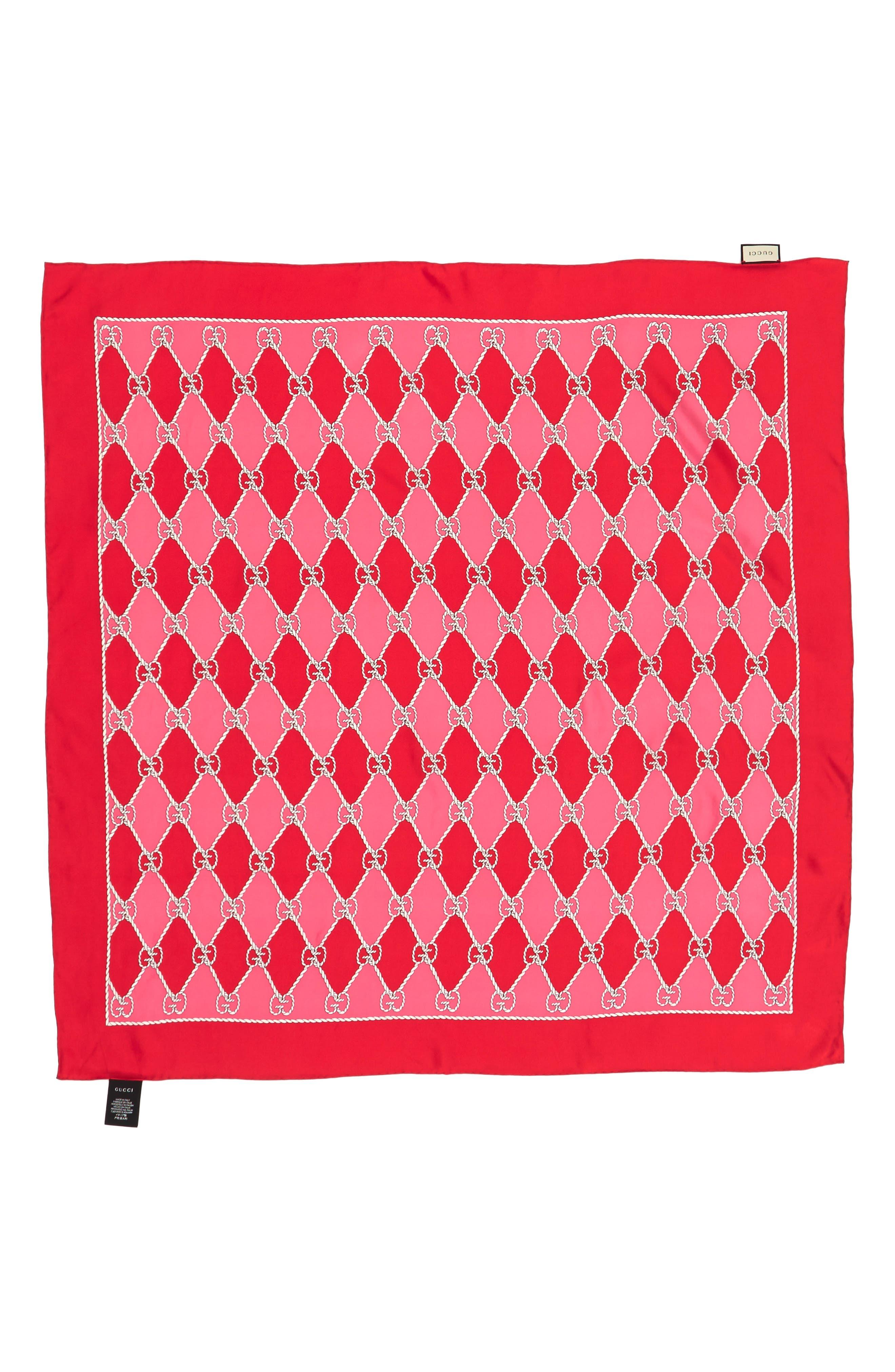 Gucci Rhombus Chane Square Foulard Silk Scarf