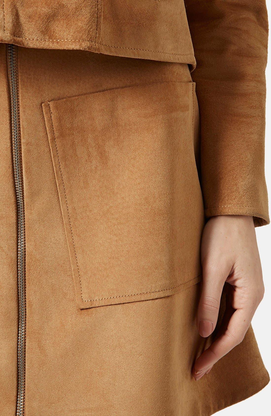 Alternate Image 4  - Topshop Front Zip Suede Skirt (Brit Pop-In) (Nordstrom Exclusive)