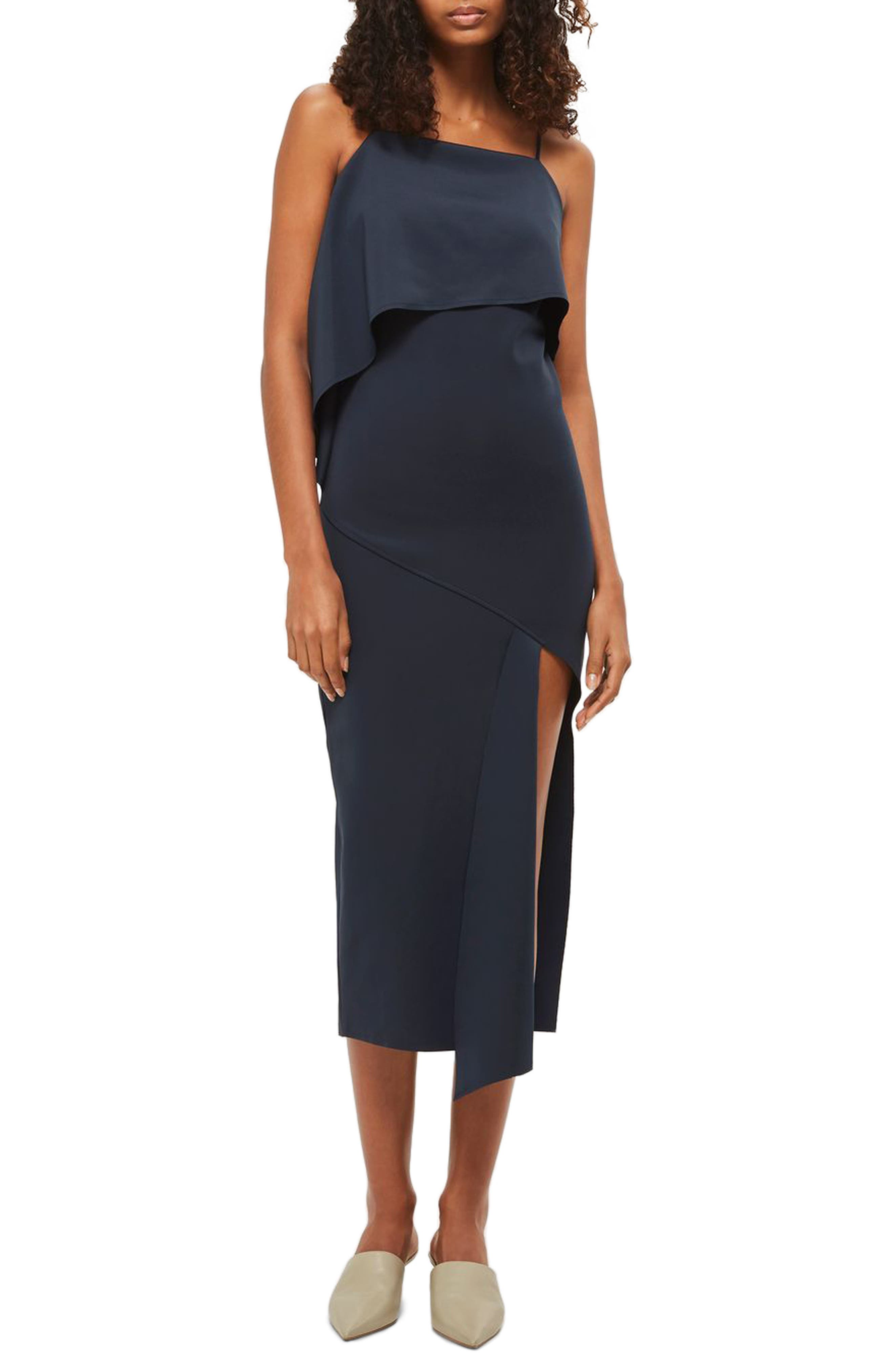 Topshop Asymmetrical Drape Scuba Dress