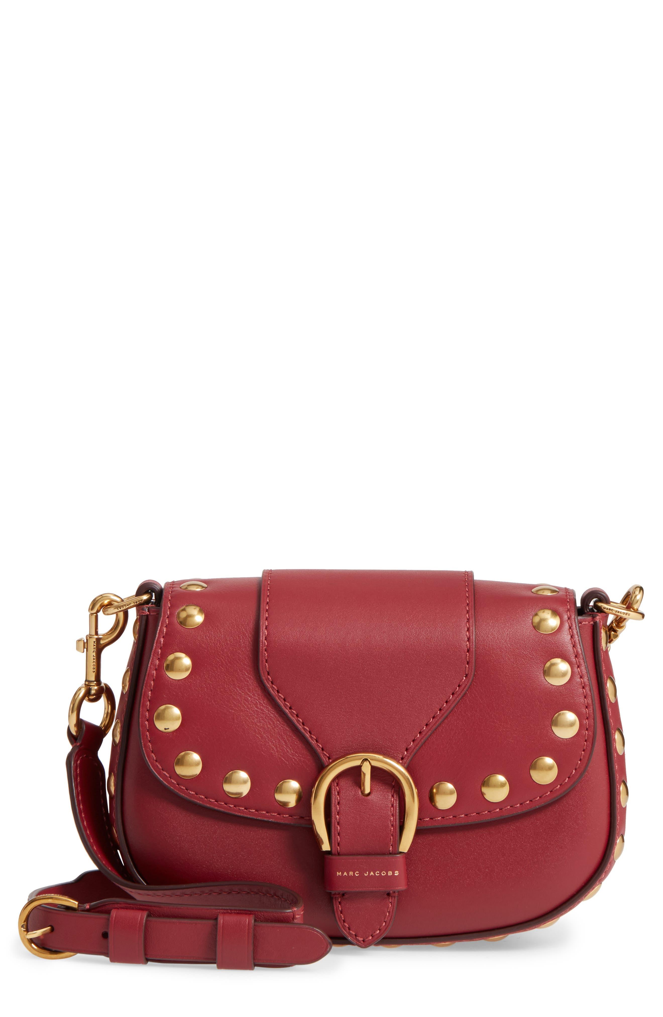 MARC JACOBS Small Studded Navigator Leather Saddle Bag