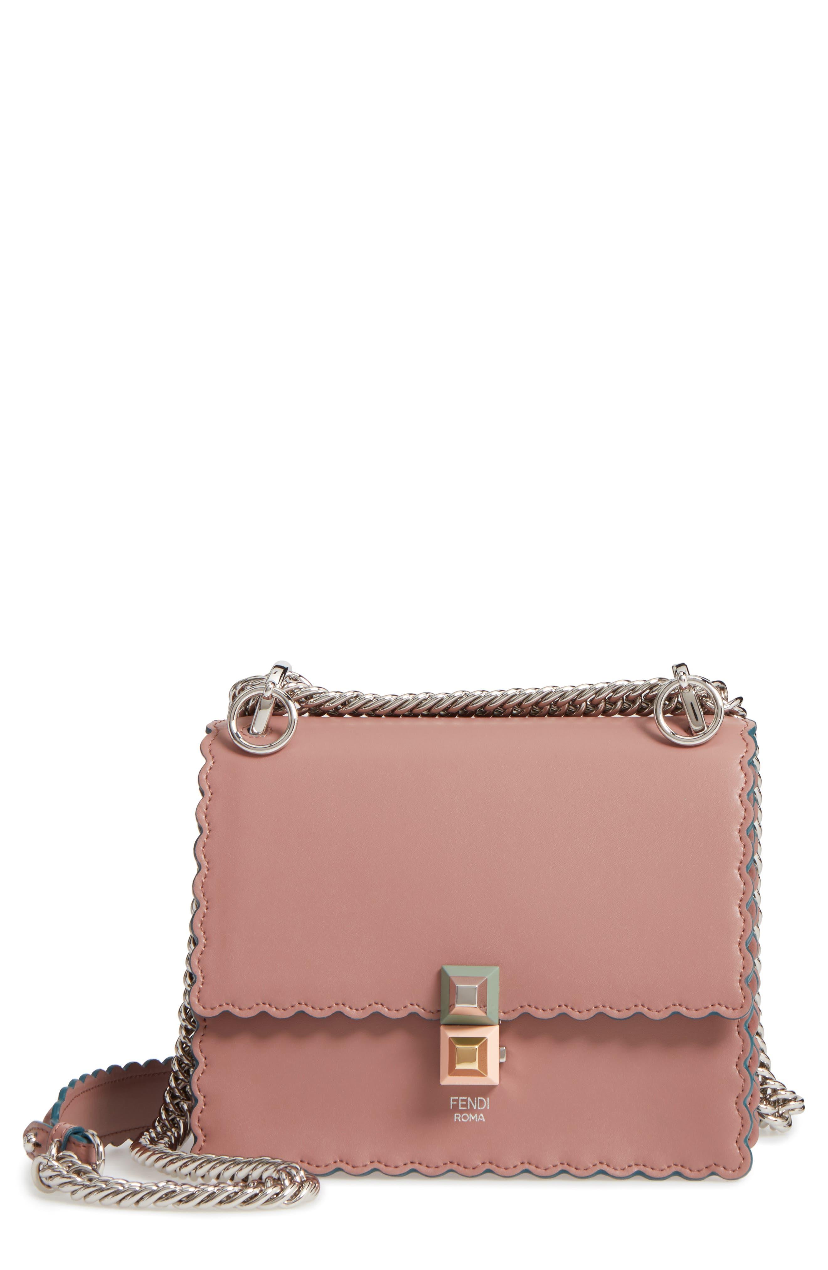 Fendi Small Kan I Scallop Leather Shoulder Bag