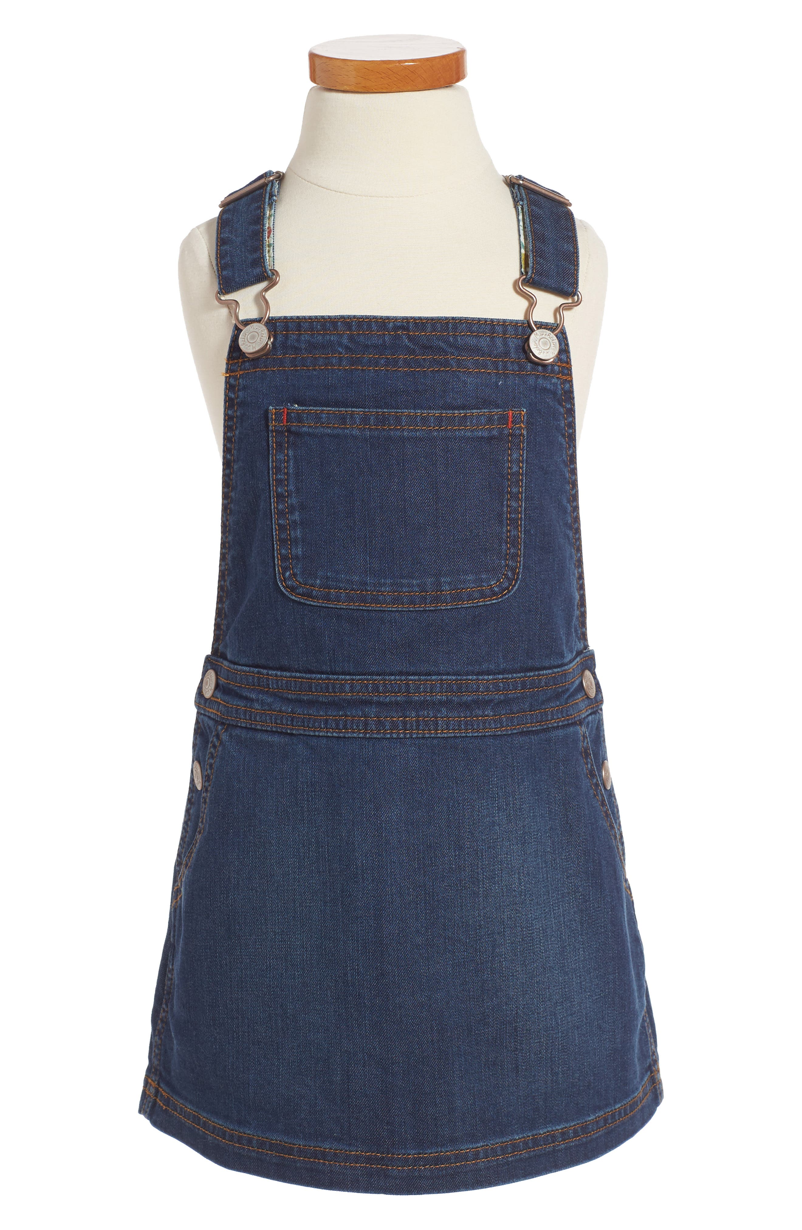 Mini Boden Adventure Denim Overall Dress (Toddler Girls, Little Girls & Big Girls)