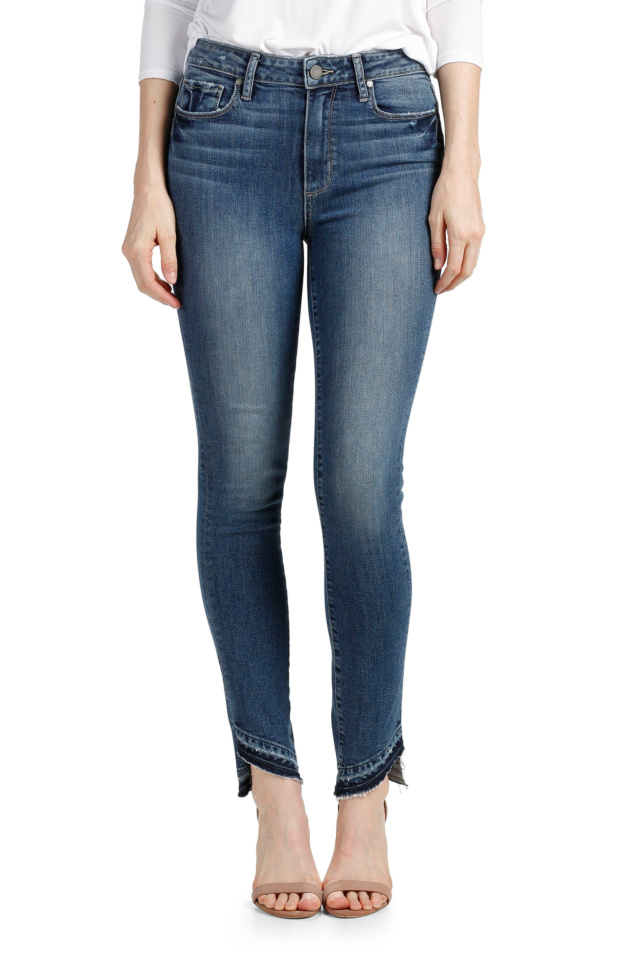 PAIGE Transcend - Hoxton Slant Undone Hem Skinny Jeans (Era)