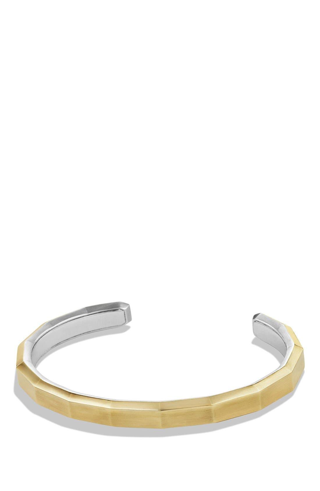DAVID YURMAN 'Faceted Metal' Cuff Bracelet with 18k