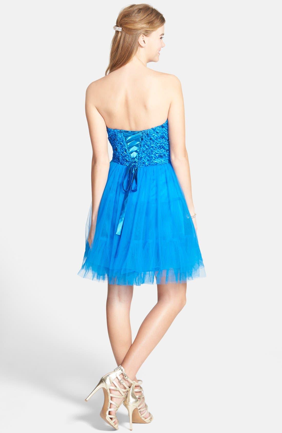 Alternate Image 2  - a. drea Lace-Up Back Party Dress (Juniors)