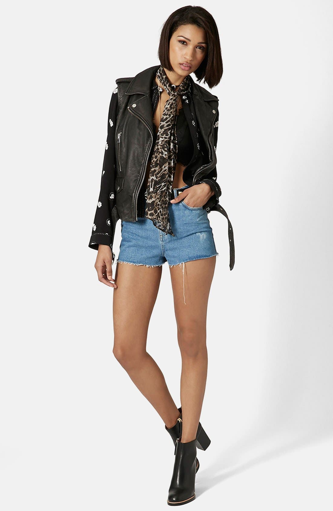 Alternate Image 5  - Topshop 'Sylvia' Leather Biker Vest