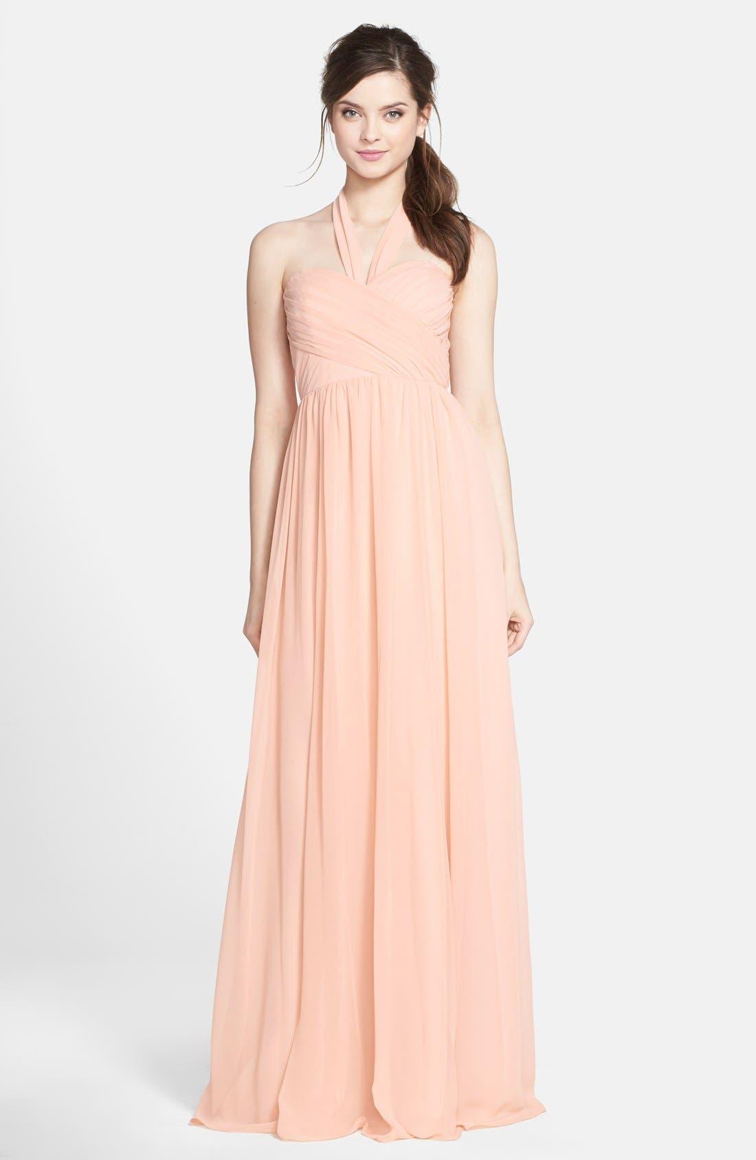 JENNY YOO 'Leah' Convertible Chiffon Gown