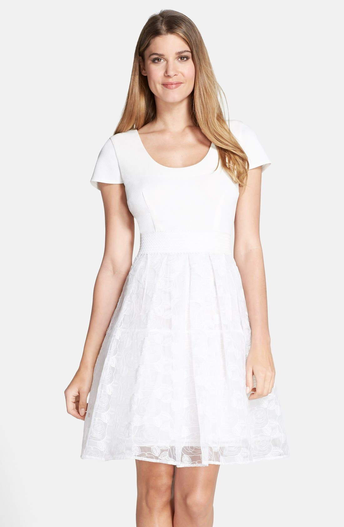 Alternate Image 1 Selected - Plenty by Tracy Reese 'Zoe' Embroidered Mixed Media Fit & Flare Dress