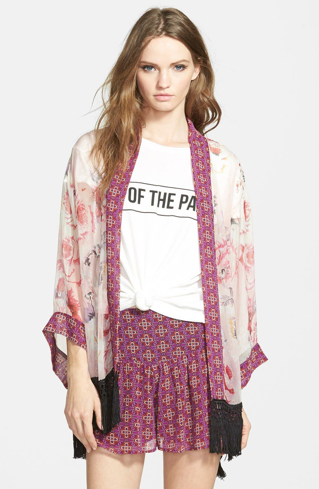 Main Image - Band of Gypsies Floral Fringe Kimono