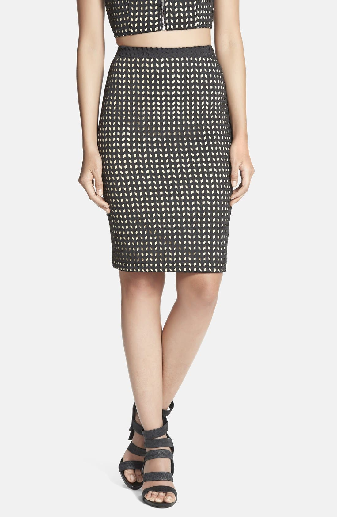 Main Image - Whitney Eve 'Manfern' Laser Cut Pencil Skirt