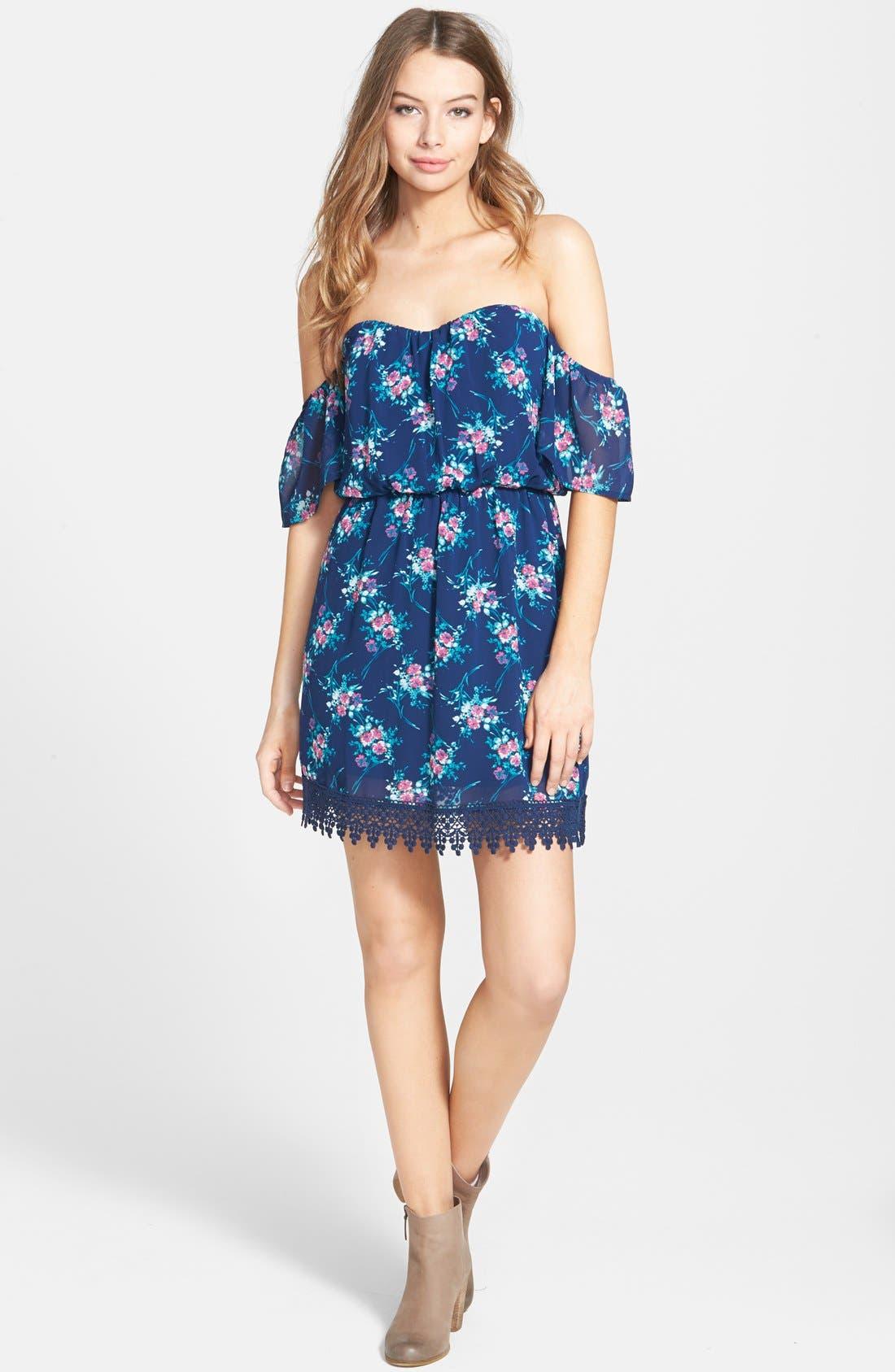 Alternate Image 1  - Socialite Strapless Crochet Trim Dress