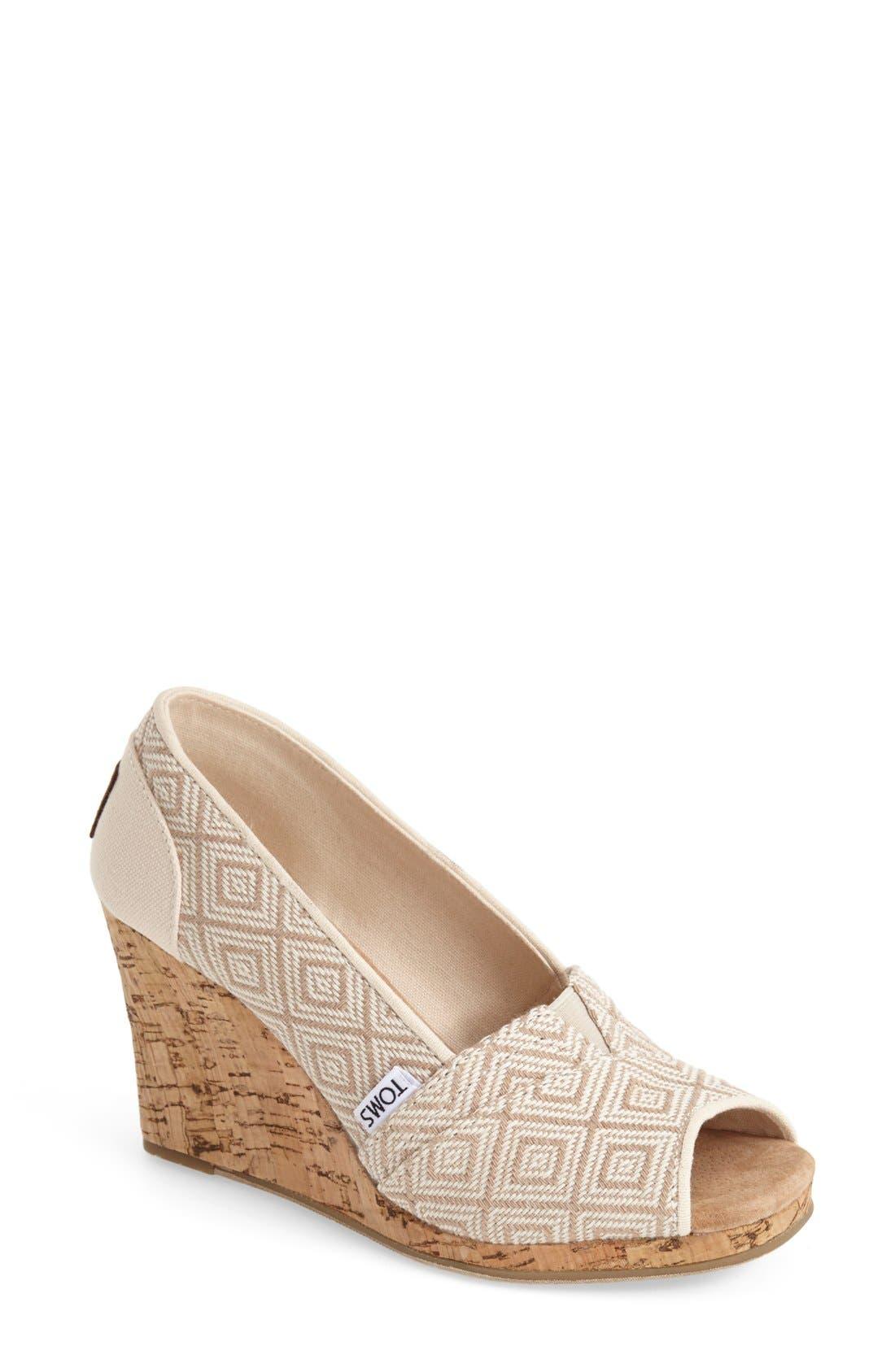 Main Image - TOMS 'Classic' Woven Wedge Sandal (Women)