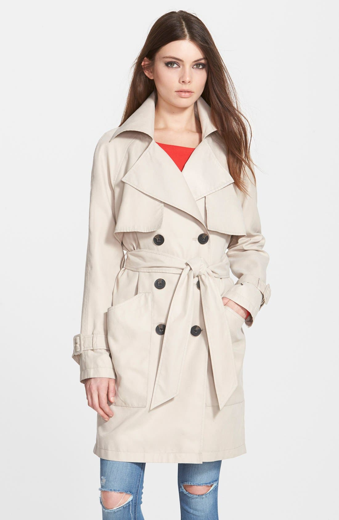 Main Image - BCBGeneration Patch Pocket Double Breasted Trench Coat