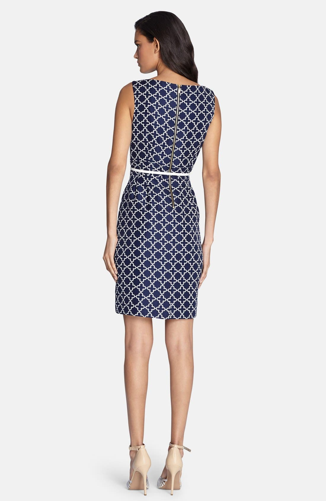 Alternate Image 2  - Tahari Belted Jacquard Sheath Dress (Regular & Petite)