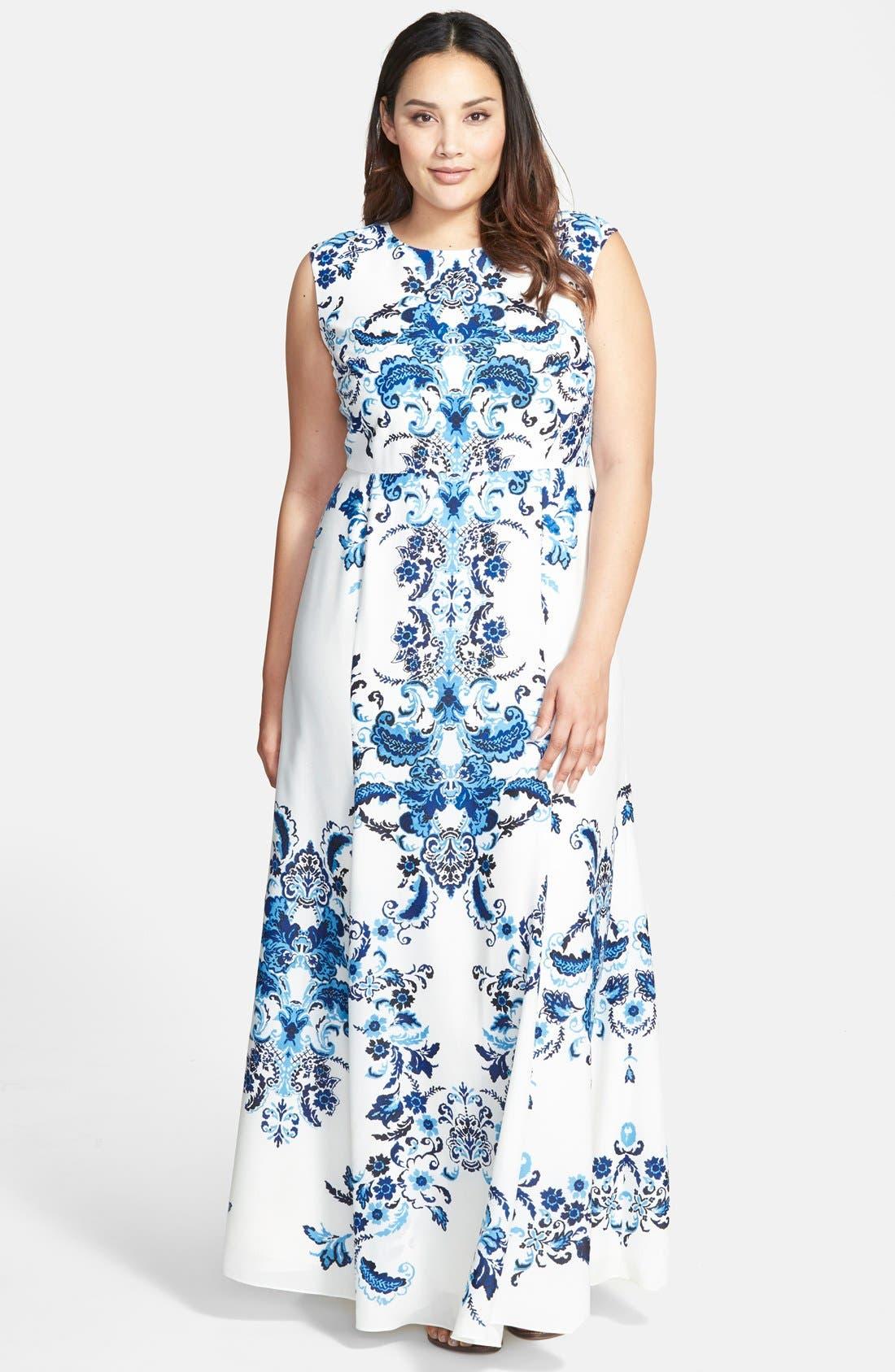 Main Image - Eliza J Placed Print Crêpe de Chine Maxi Dress (Plus Size)