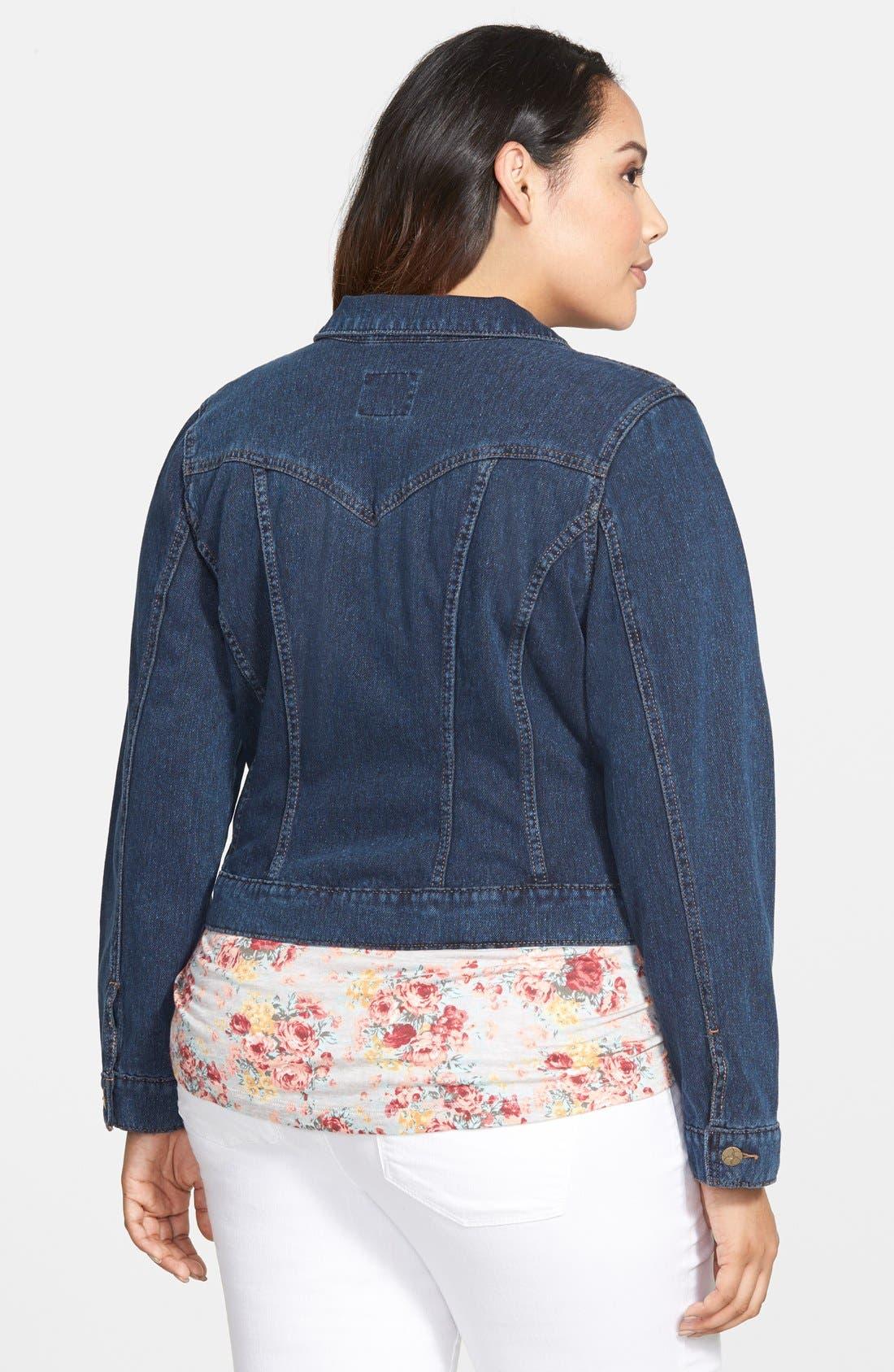Alternate Image 2  - Jessica Simpson 'Pixie' Denim Jacket (Plus Size)