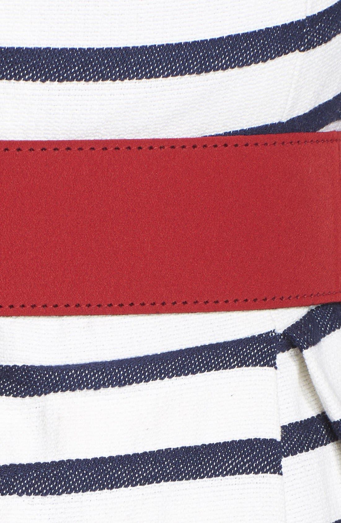 Alternate Image 4  - Eliza J Belted Stripe Fit & Flare Dress (Regular & Petite)