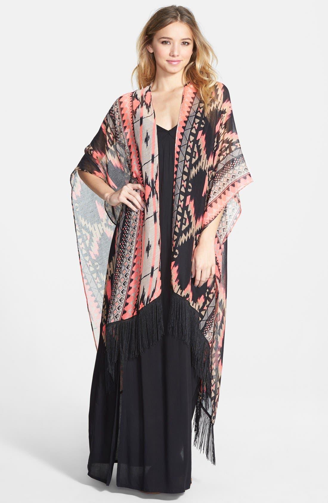 Alternate Image 1 Selected - BP. Geo Print Kimono (Juniors)