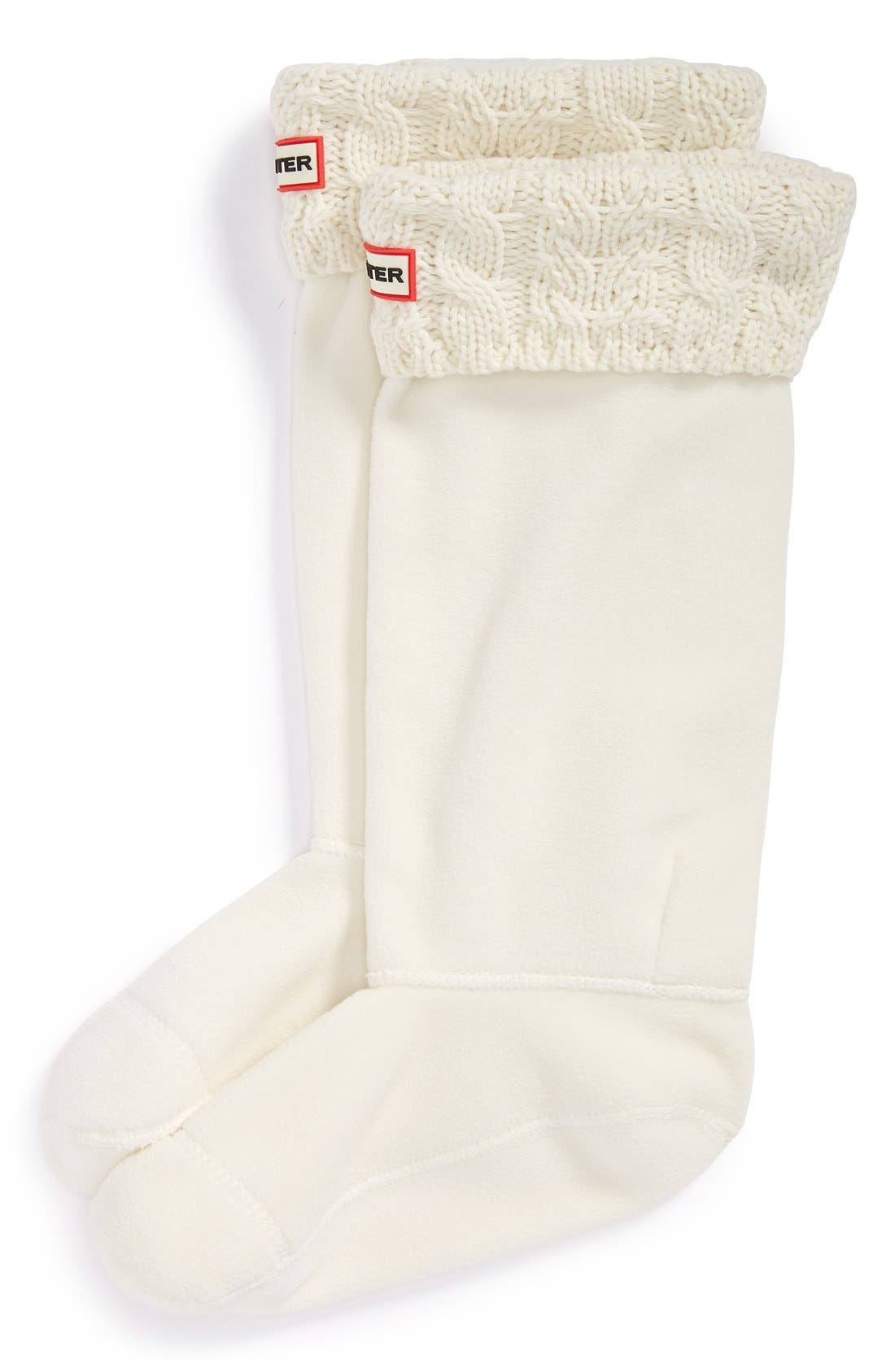 Main Image - Hunter Tall Cable Knit Cuff Welly Socks (Women)
