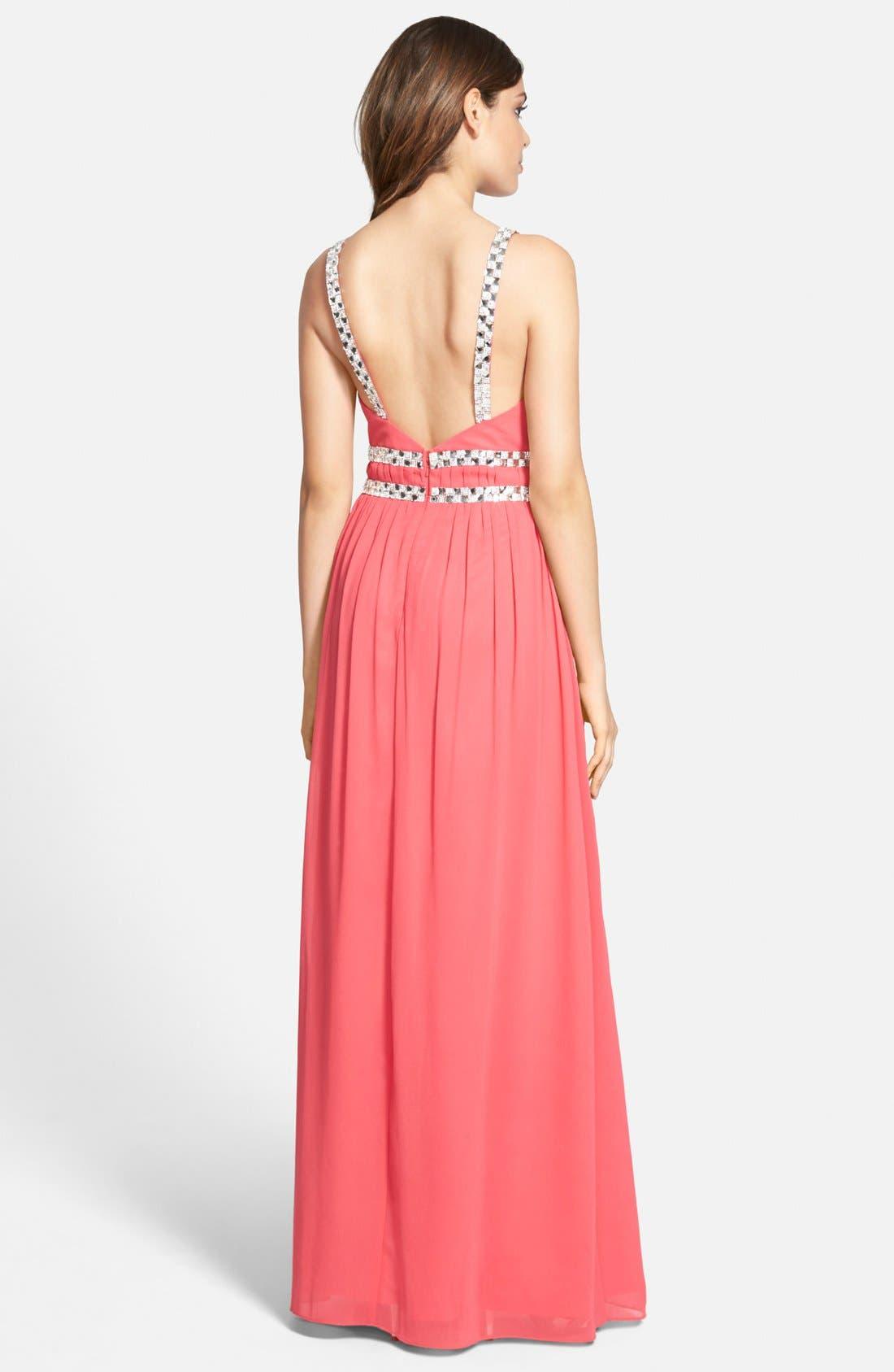 Alternate Image 2  - a. drea Embellished Keyhole Gown (Juniors)