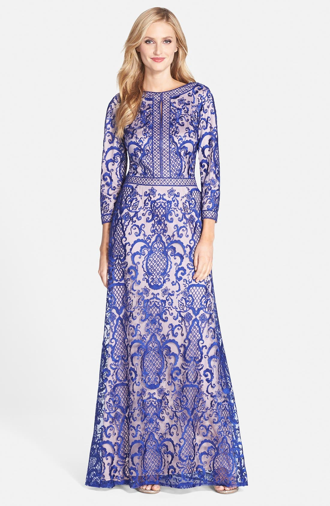 Alternate Image 1 Selected - Tadashi Shoji Embroidered Mesh Gown