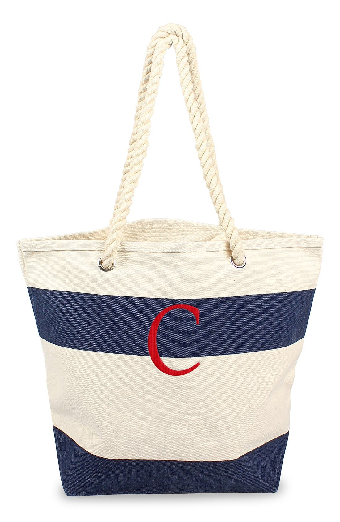 Alternate Image 1 Selected - Cathy's Concepts Monogram Stripe Canvas Tote